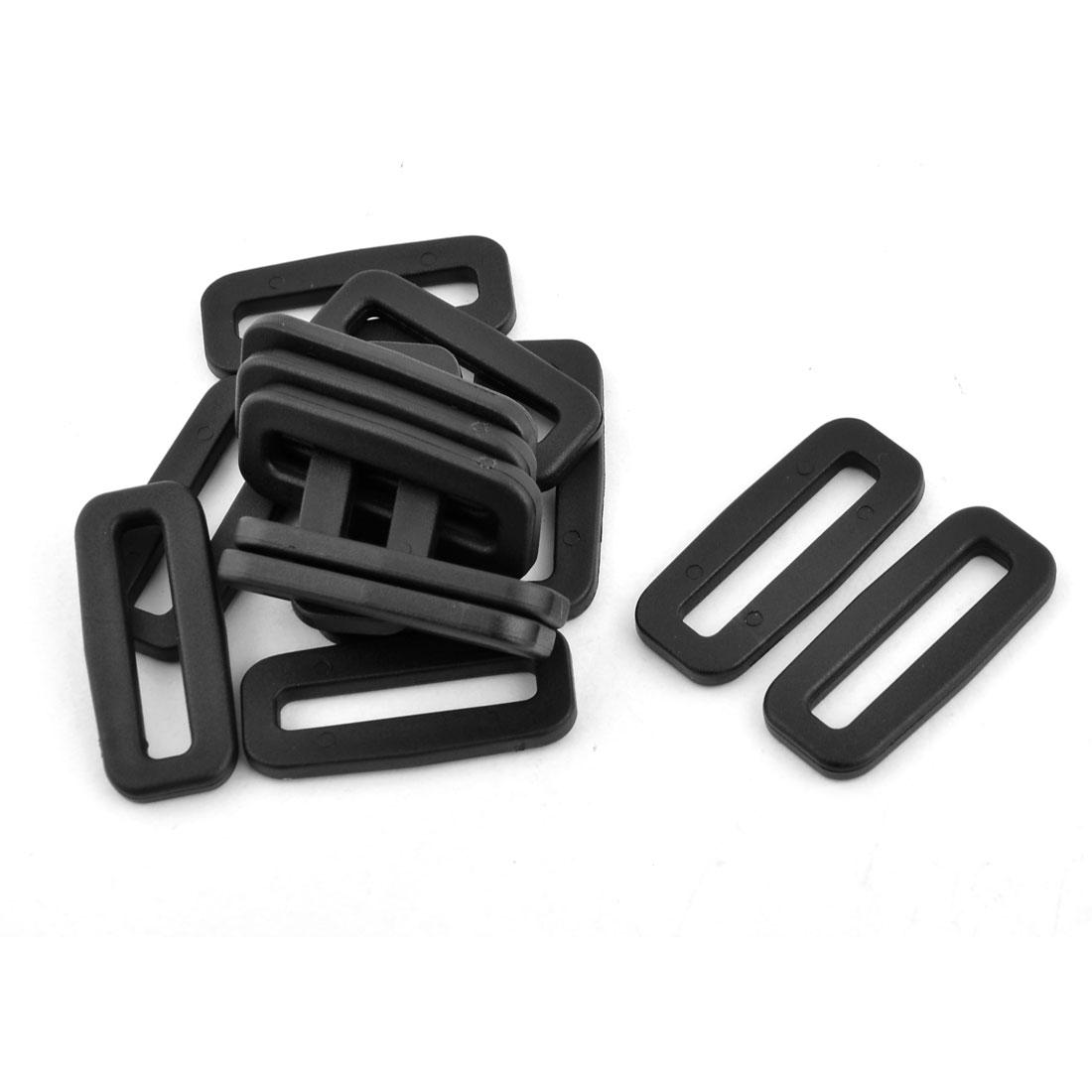 Backpack Belt Tension Connector Tri Glide Buckles Black 32mm Strap Width 15pcs