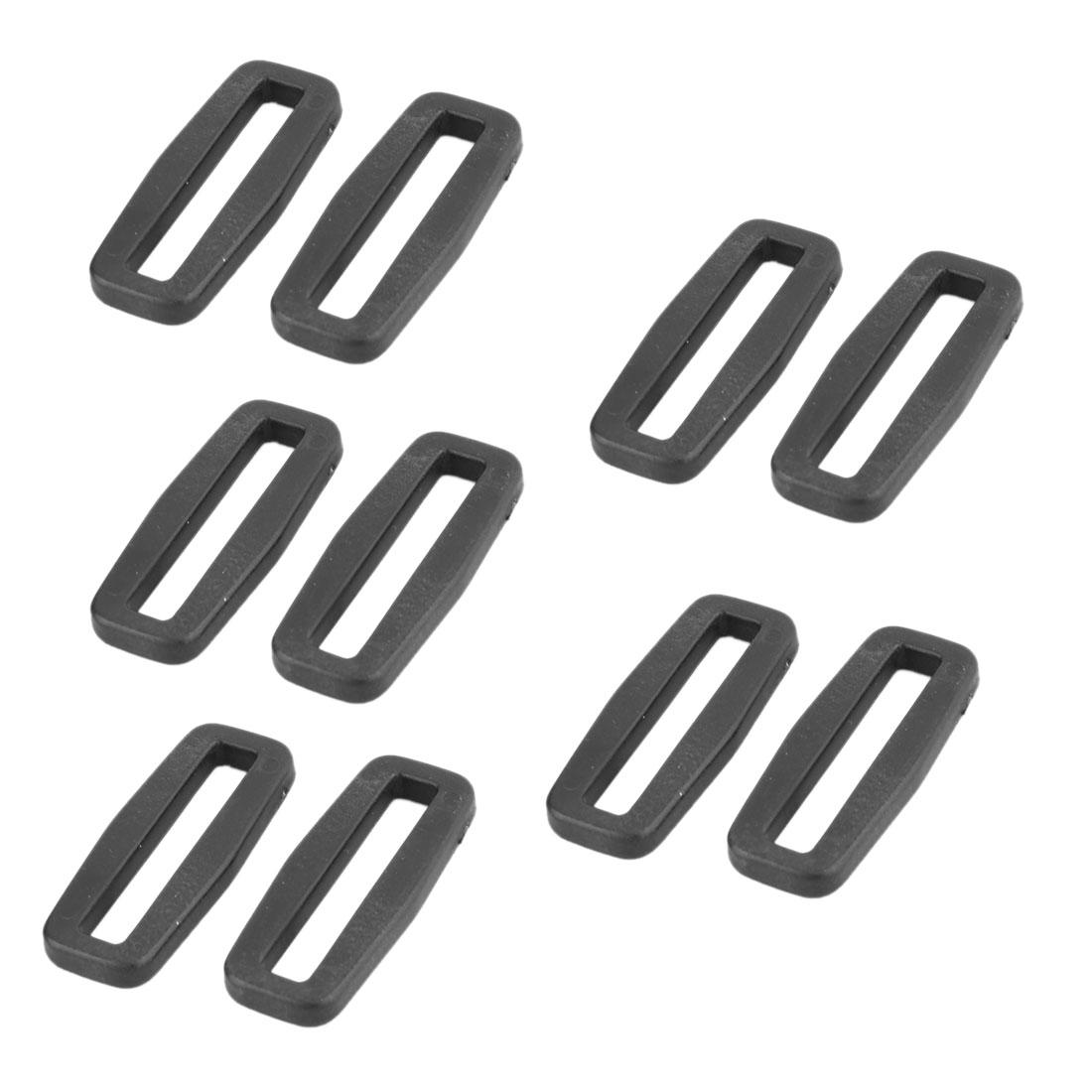Shoulder Bag Belt Tri Glide Fastener Buckles Connector Black 38mm Strap Width 10pcs