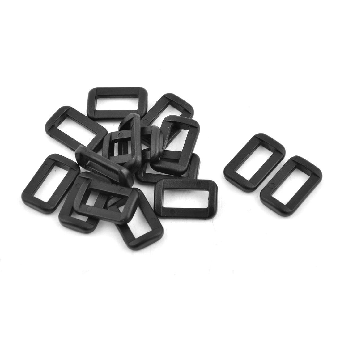 Backpack Plastic Adjustive Shoulder Belt Tri Glide Buckle 15mm Strap Width 15pcs