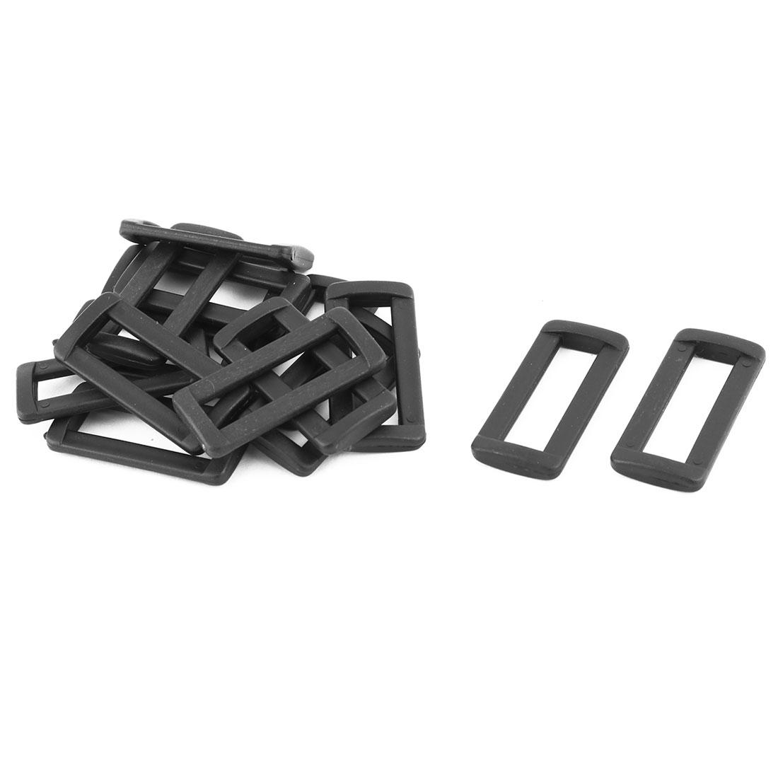 Backpack Belt Adjustable Tri Glide Fastener Buckles Black 38mm Strap Width 15pcs