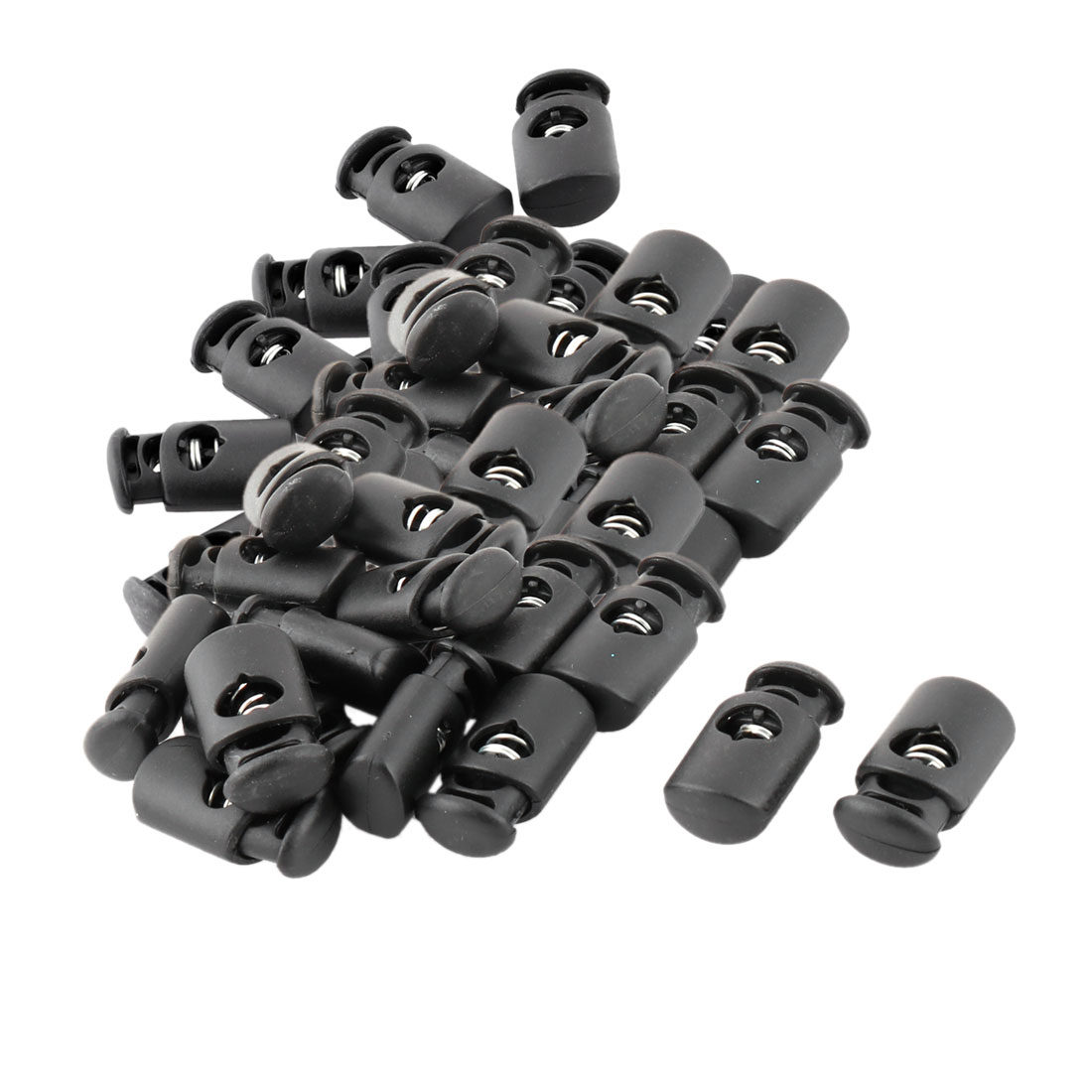 Plastic Single Hole Spring Loaded Clothes Sliding Cord Lock Stopper Black 50pcs