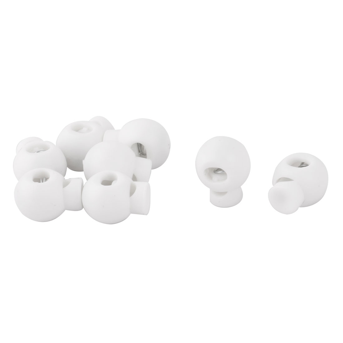 Plastic Spring Loaded Coat Clothes Sliding Cord Lock Stopper Fastener White 8pcs