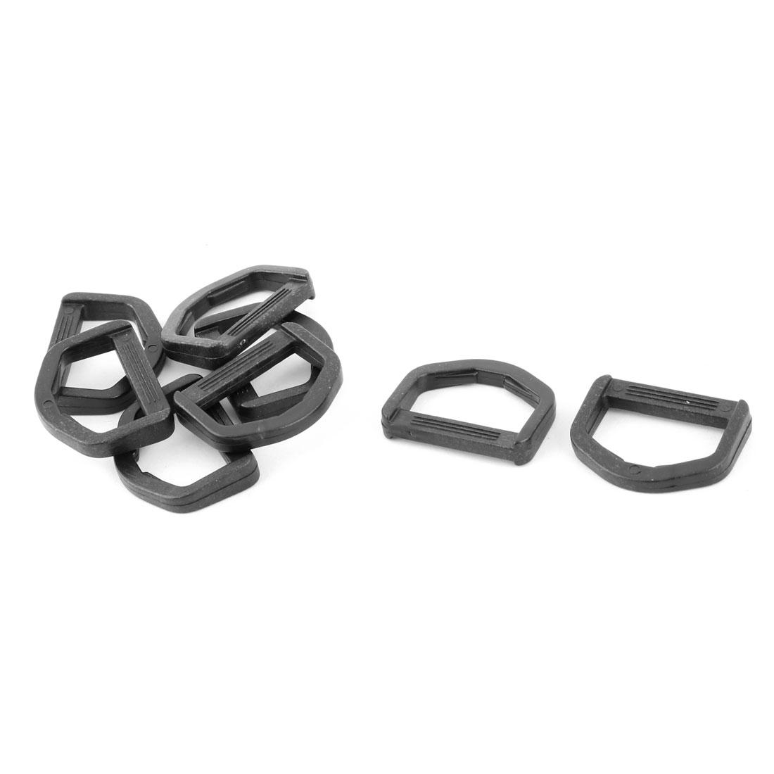 Backpack Plastic D Shaped Webbing Belt Strap Connecting Ring Buckle Black 8pcs