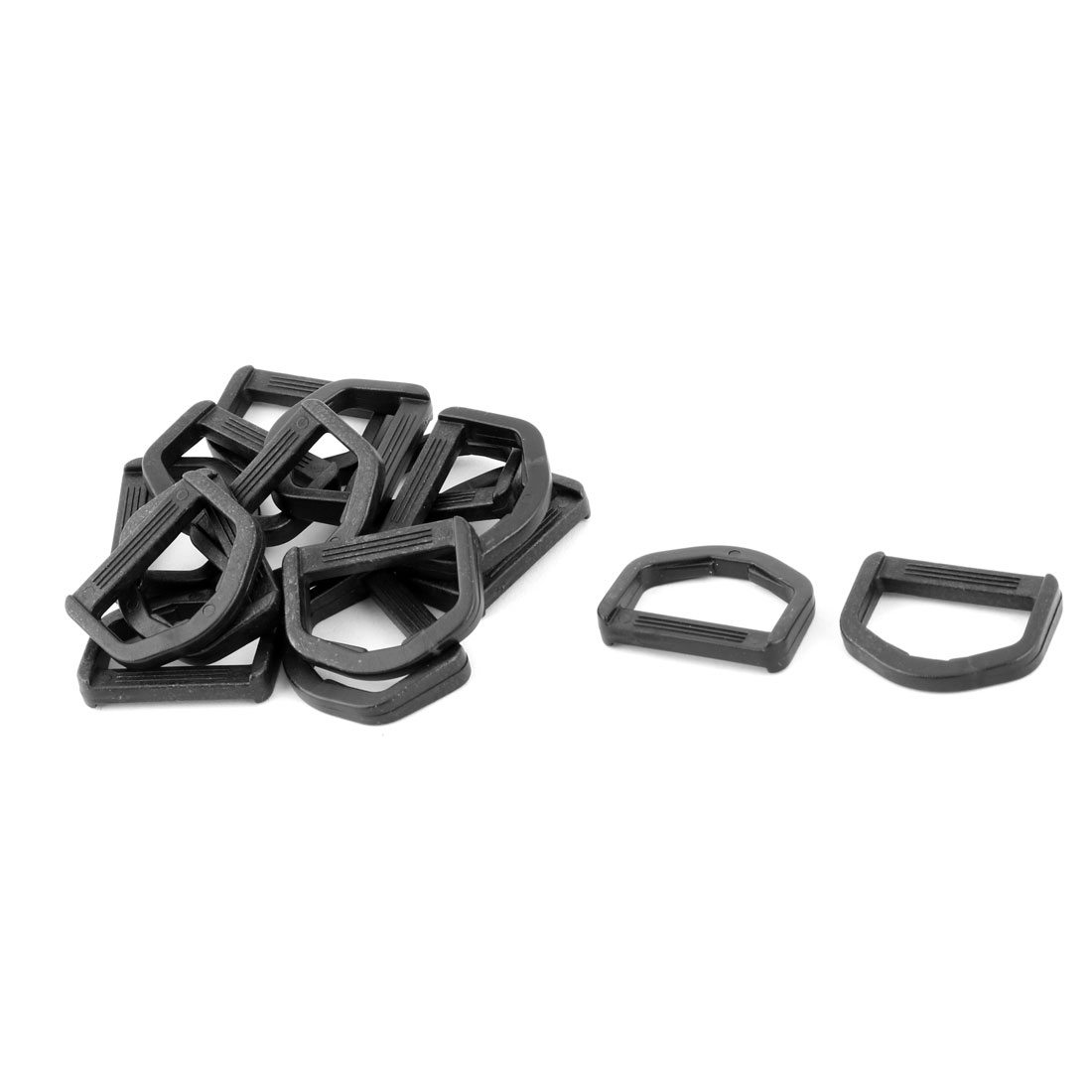 Backpack Plastic D Shaped Webbing Belt Strap Connecting Ring Buckle Black 15pcs