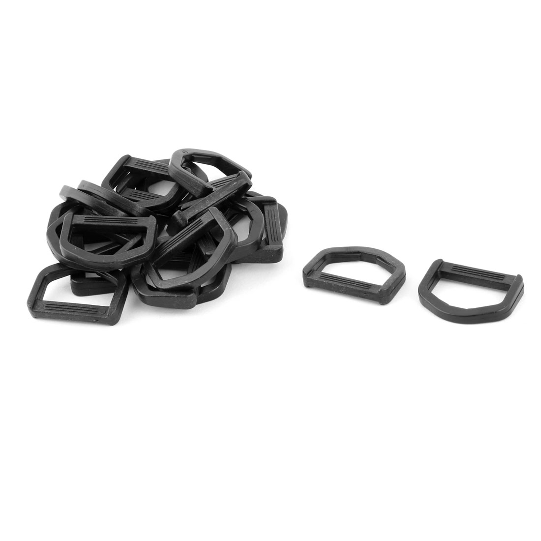 Backpack Plastic D Shaped Webbing Belt Strap Connecting Ring Buckle Black 20pcs