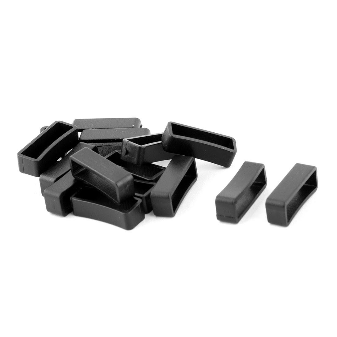 Household Plastic Bag Belt String Connector Buckle Black 17mm Strap Width 15pcs