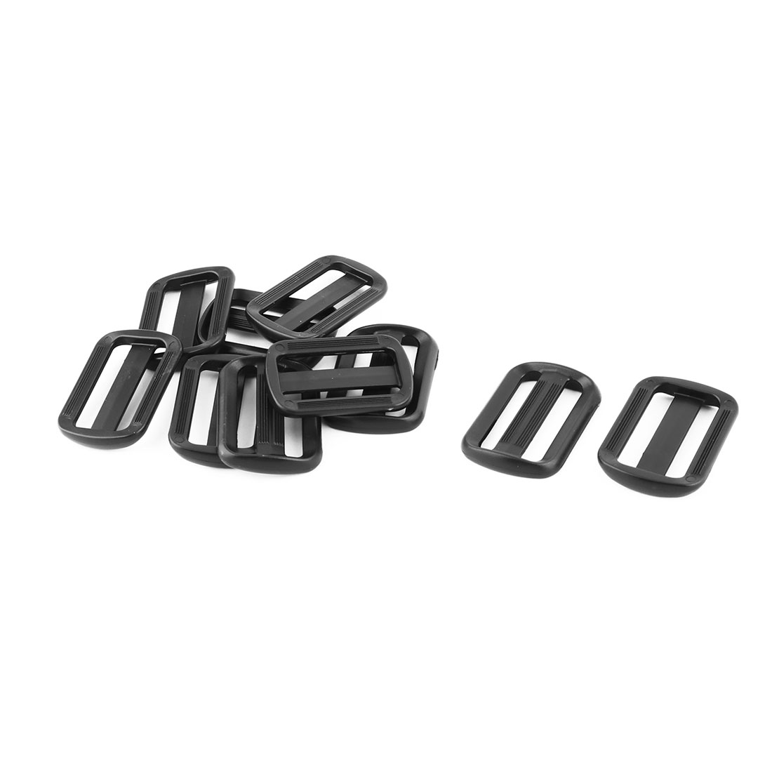 Outdoor Plastic Adjustable Backpack Strap Tri Glide Buckle Black 1.9 Inches Length 10pcs