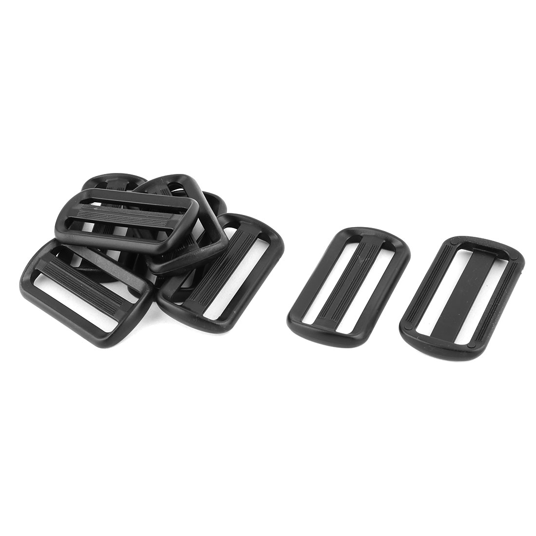 Outdoor Travel Plastic Adjustive Bag Backpack Strap Belt Tri Glide Buckle Fastener Black 8pcs