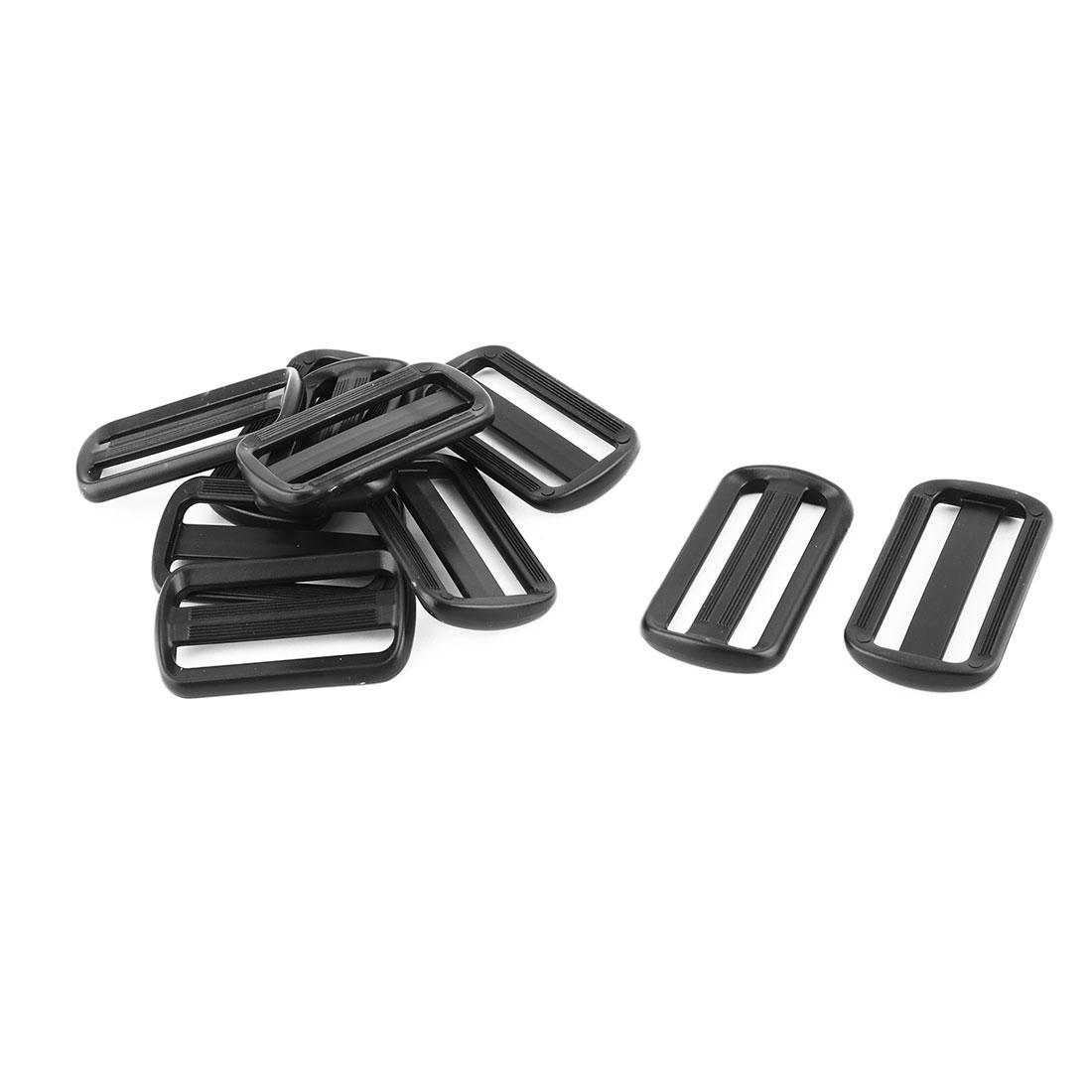 Travel Plastic Adjustive Bag Backpack Strap Belt Tri Glide Buckle Fastener Black 10pcs