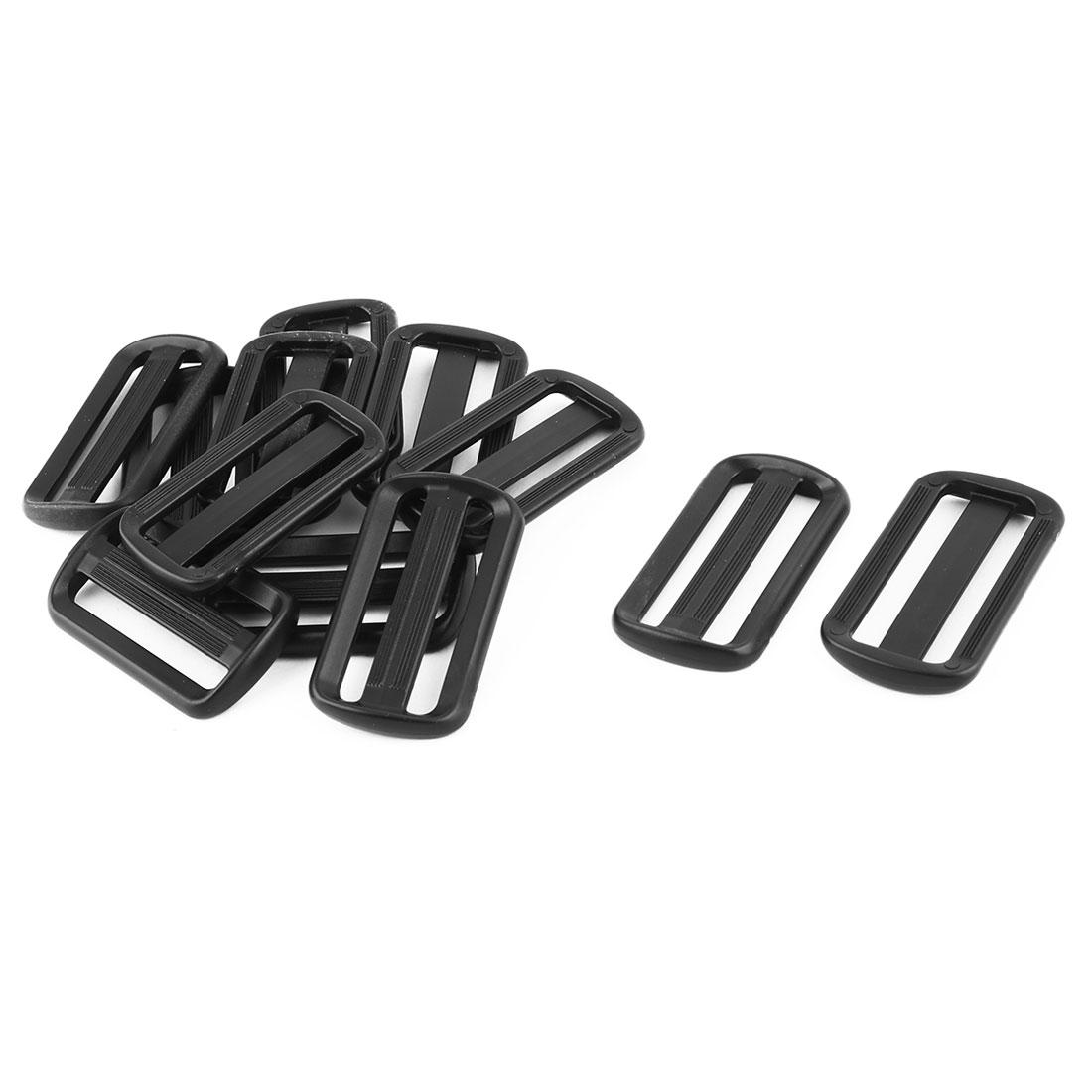 Travel Plastic Adjustive Bag Backpack Strap Belt Tri Glide Buckle Fastener Black 12pcs