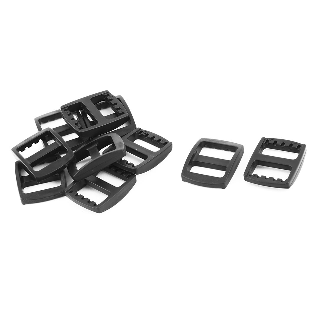 Travel Plastic Adjustable Backpack Tri Glide Buckle Black 15mm Strap Width 10pcs