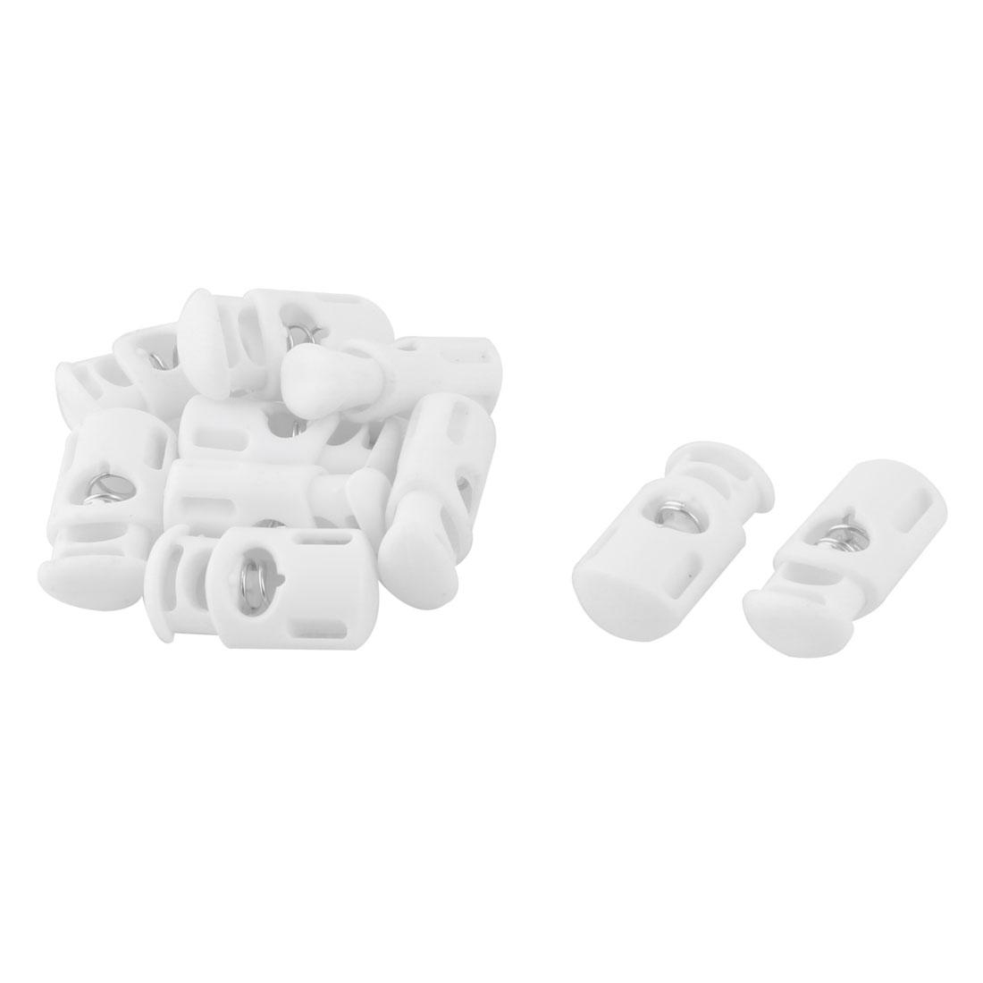 Plastic Single Hole Spring Loaded Clothes Sliding Cord Lock Fastener White 10pcs
