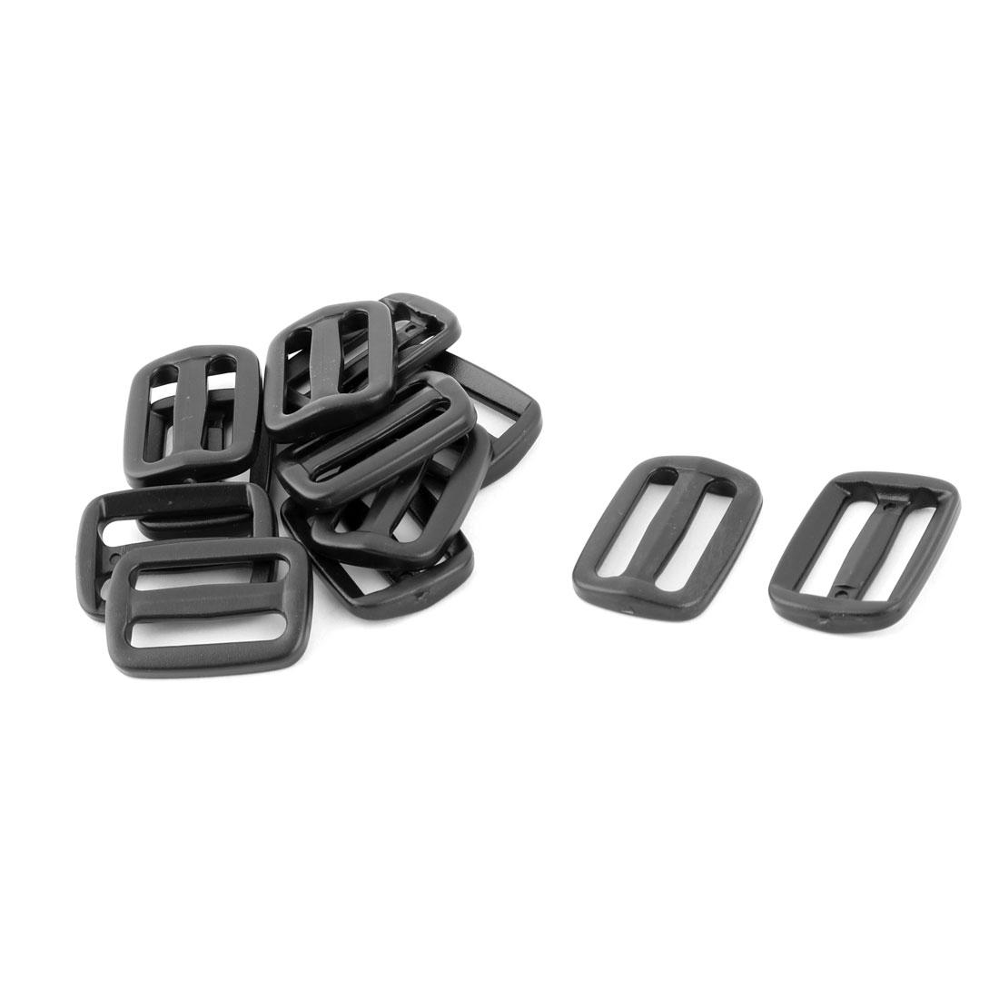Travel Plastic Backpack Belt Strap Tri Glide Slide Adjustable Buckle Black 12pcs
