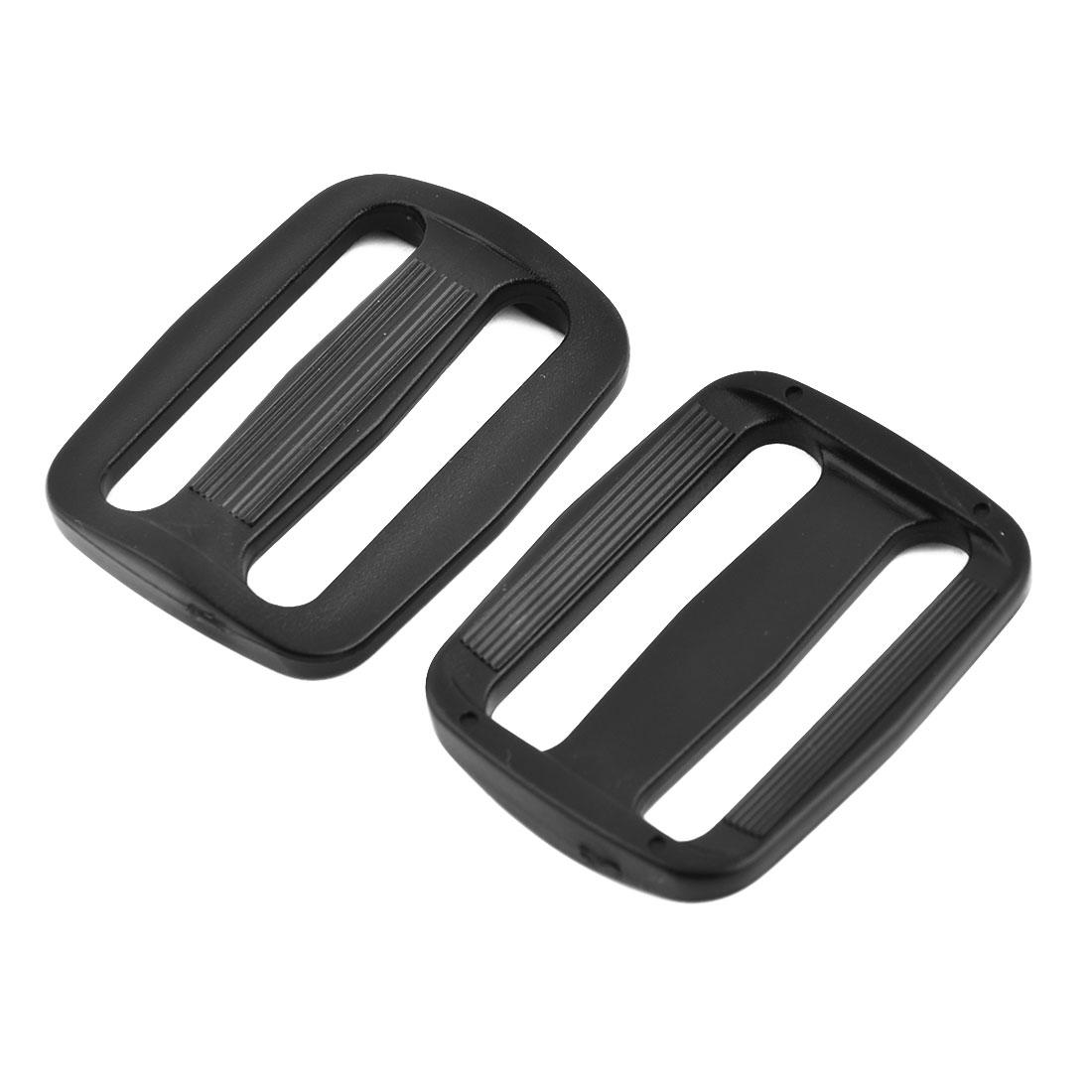 Plastic Adjustable Backpack Strap Tri Glide Tension Connect Buckle Black 4 Pcs
