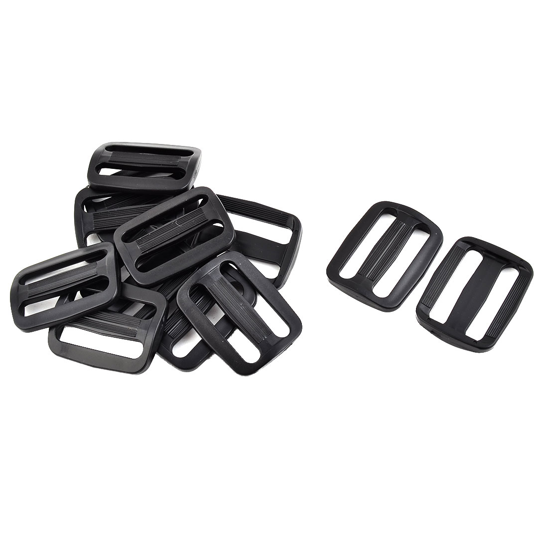 Plastic Adjustable Backpack Strap Belt Tri Glide Fastener Buckle Black 12 Pcs