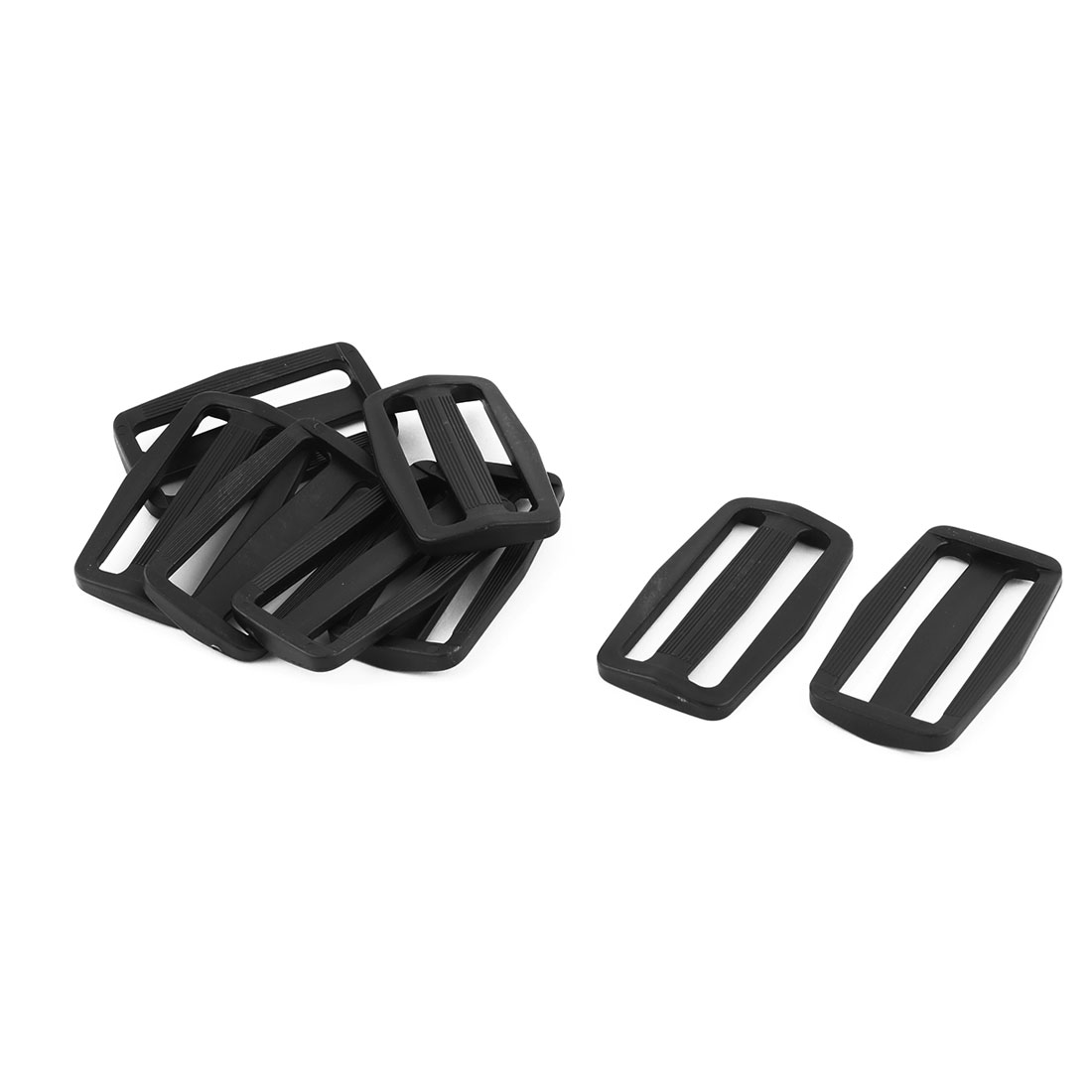 Outdoor Plastic Adjustable Backpack Strap Tri Glide Buckle Black 2.3 Inches Length 8pcs