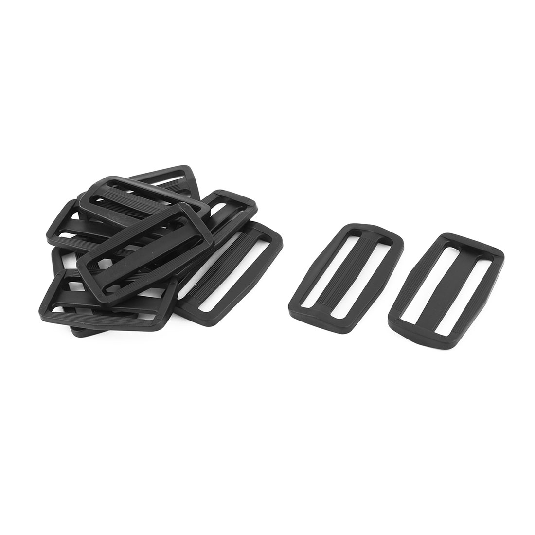 Outdoor Plastic Adjustable Backpack Strap Tri Glide Buckle Black 2.3 Inches Length 10pcs