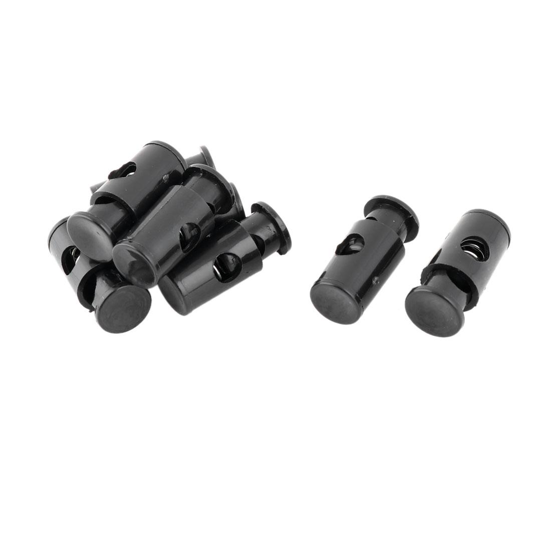 Plastic Spring Loaded Adjustive Clothes Sliding Cord Lock Stopper Black 8pcs