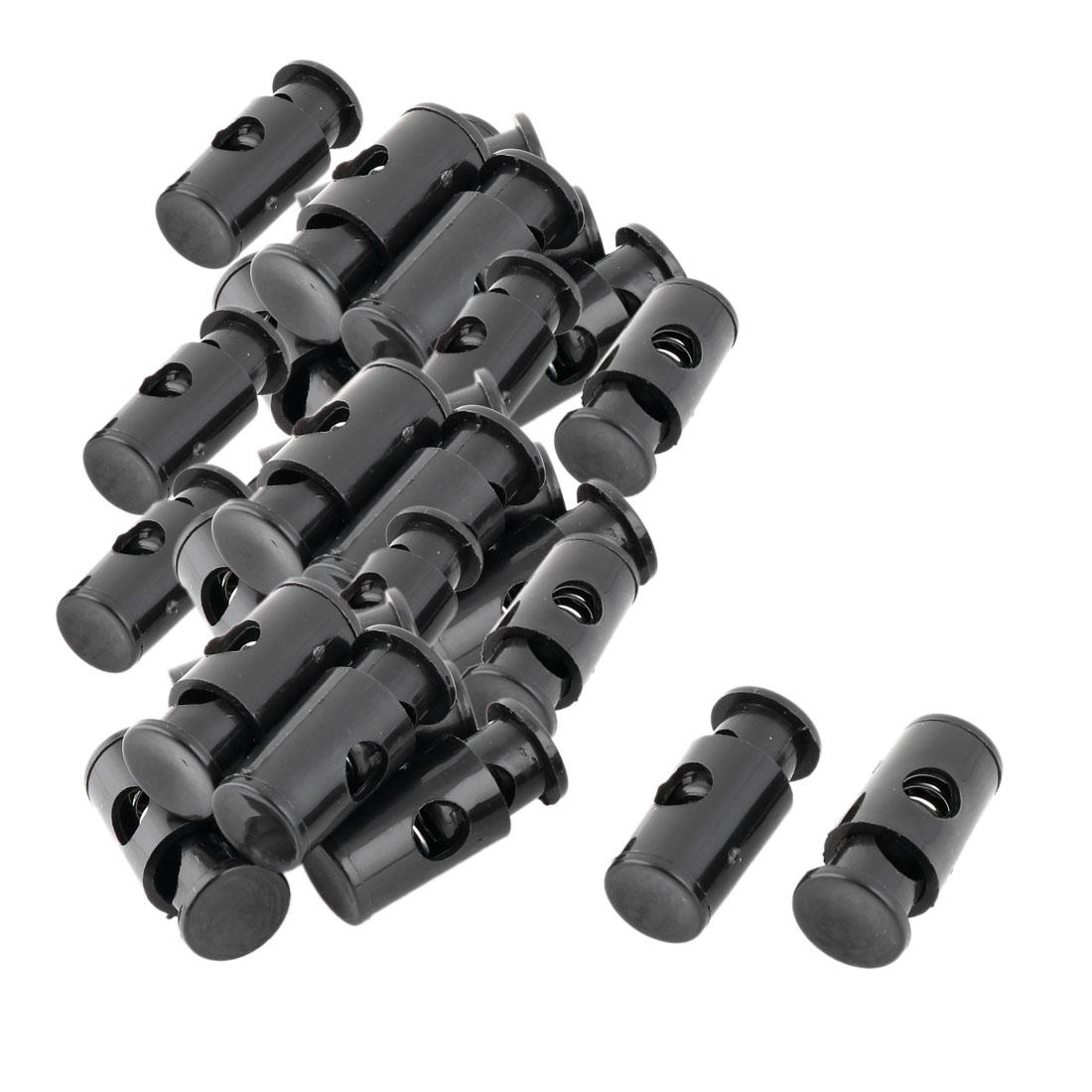 Plastic Spring Loaded Adjustive Clothes Sliding Cord Lock Stopper Black 30pcs