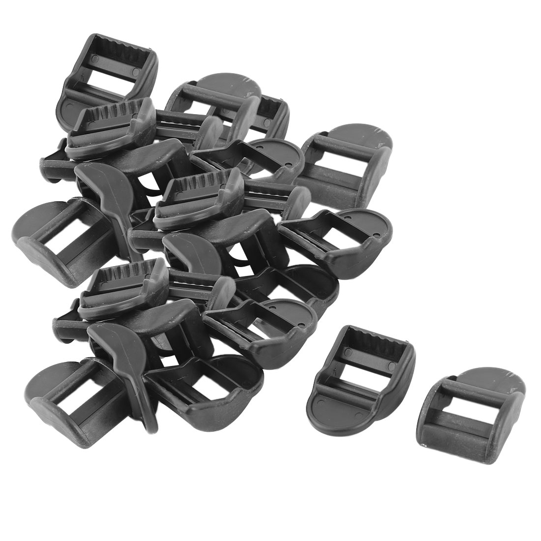 Backpack Bag Plastic Adjustable Strap Ladder Tension Lock Slider Buckles Black 30pcs