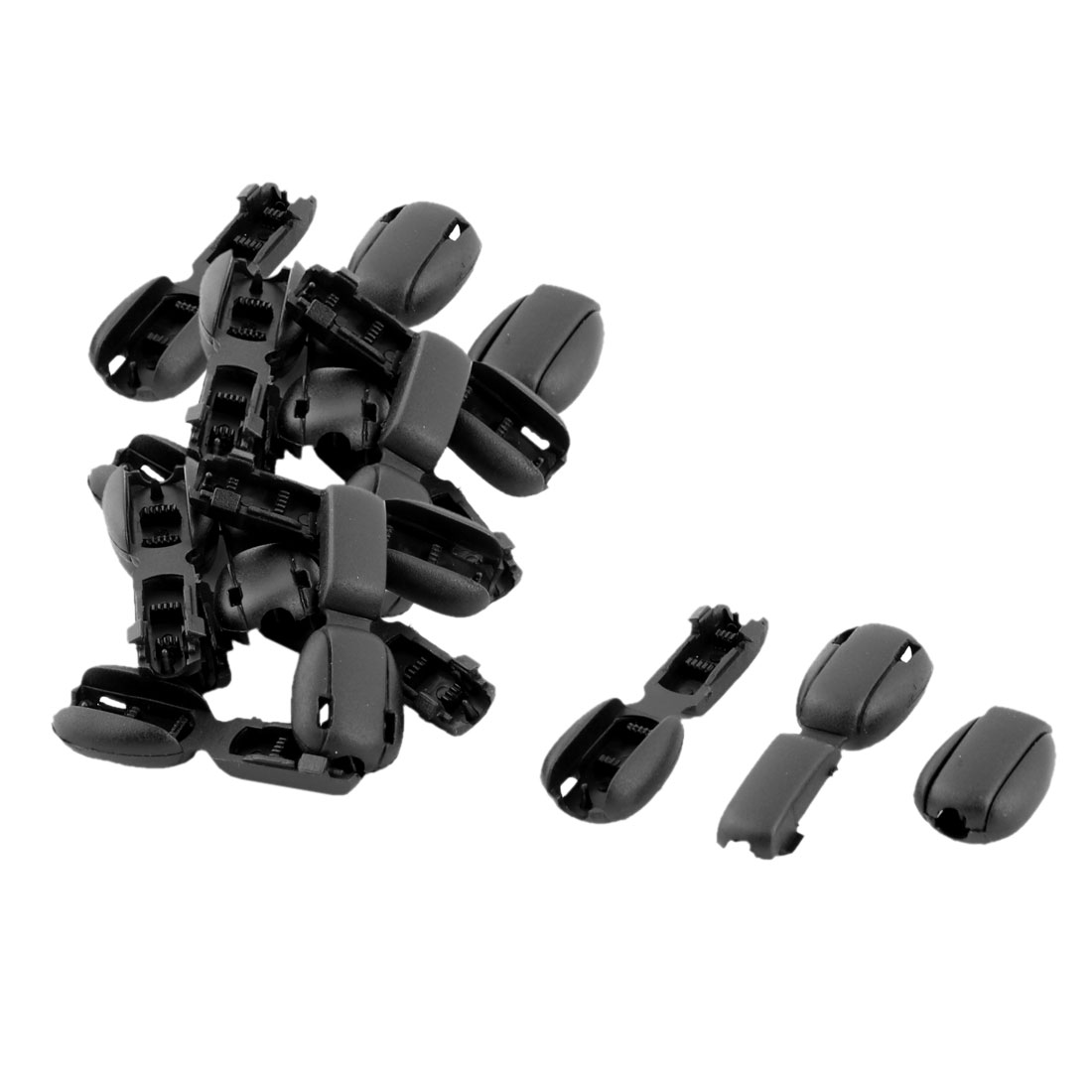 Plastic Single Hole Clothes Sliding Glide Cord Rope Lock Stopper Fastener Buckle 20pcs