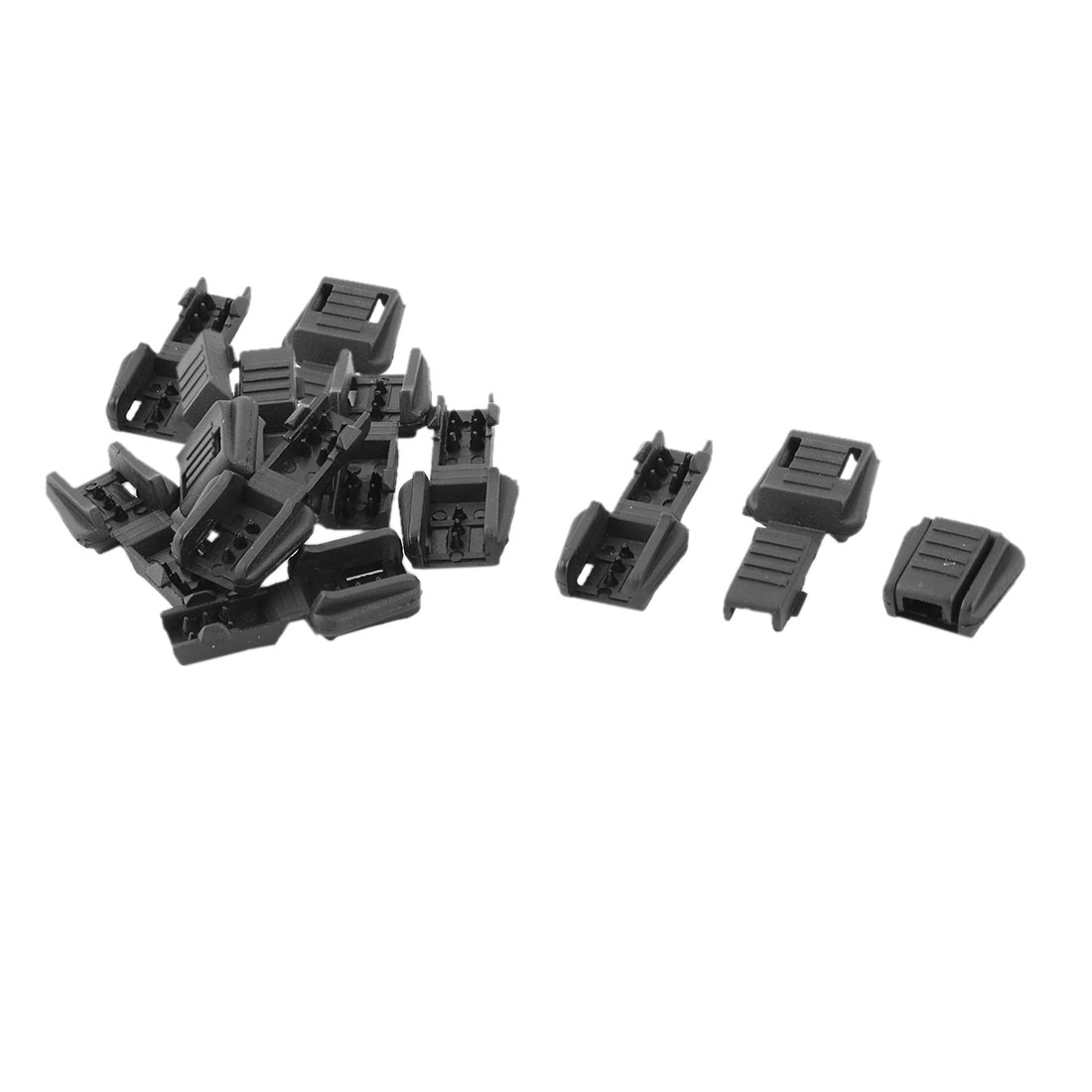 Plastic Single Hole Clothing Cord Rope Lock Clip Clamp Stopper Fastener Black 12pcs