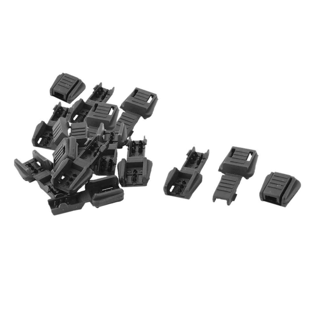 Plastic Single Hole Clothing Cord Rope Lock Clip Clamp Stopper Fastener Black 15pcs