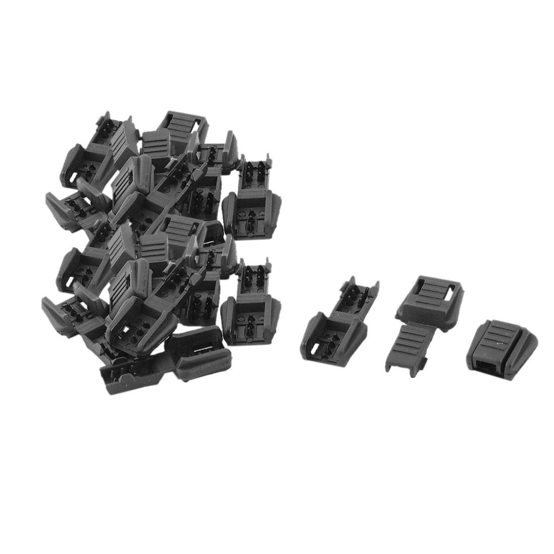 Plastic Single Hole Clothing Cord Rope Lock Clip Clamp Stopper Fastener Black 20pcs