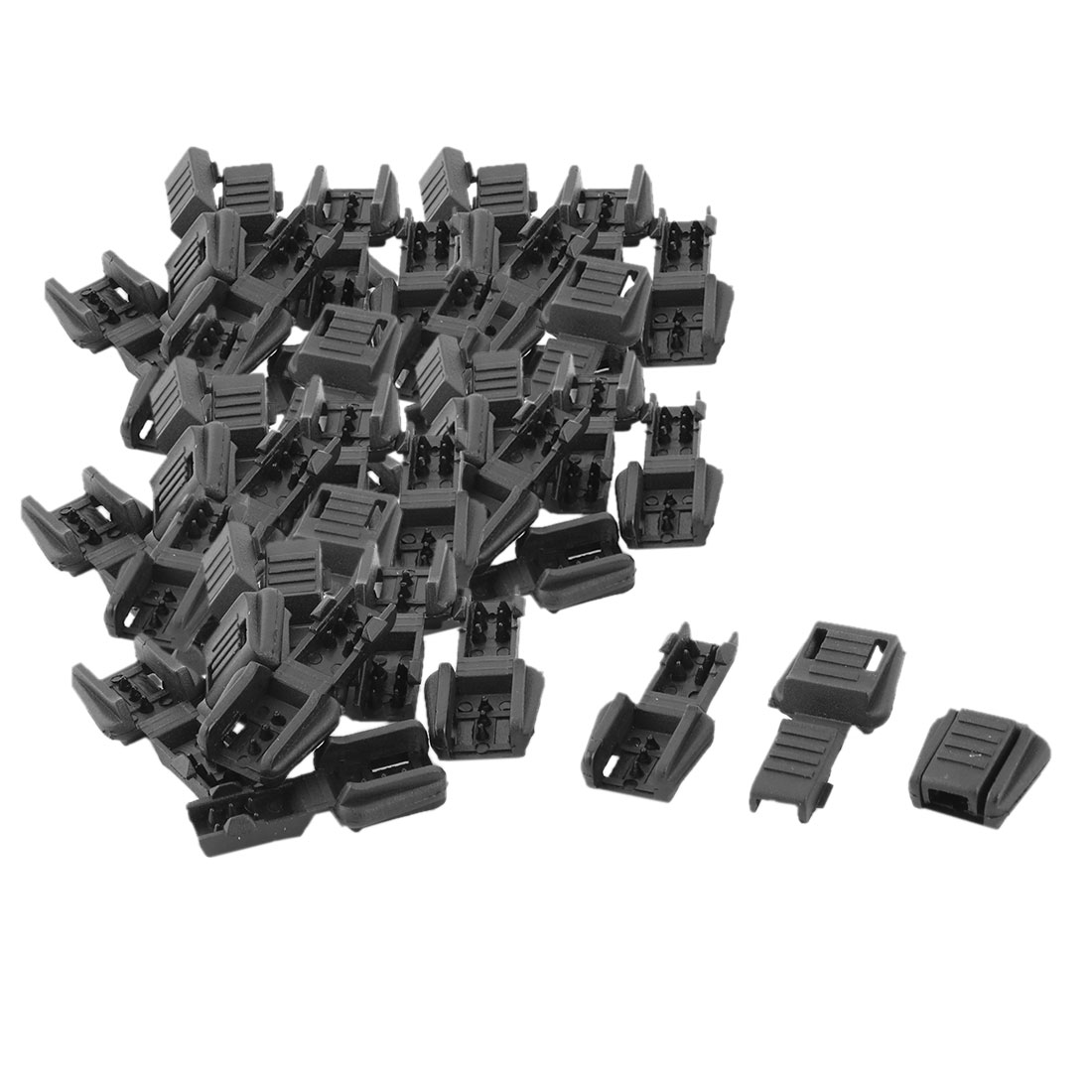 Plastic Single Hole Clothing Cord Rope Lock Clip Clamp Stopper Fastener Black 50pcs
