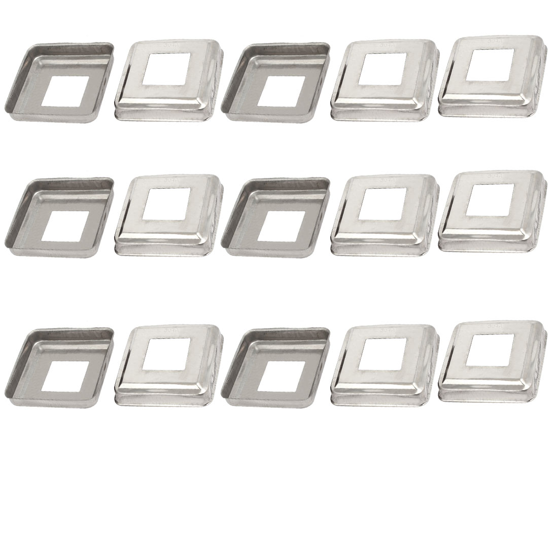 15pcs Ladder Handrail Hand Rail 30mm x 30mm Post Plate Cover 304 Stainless Steel