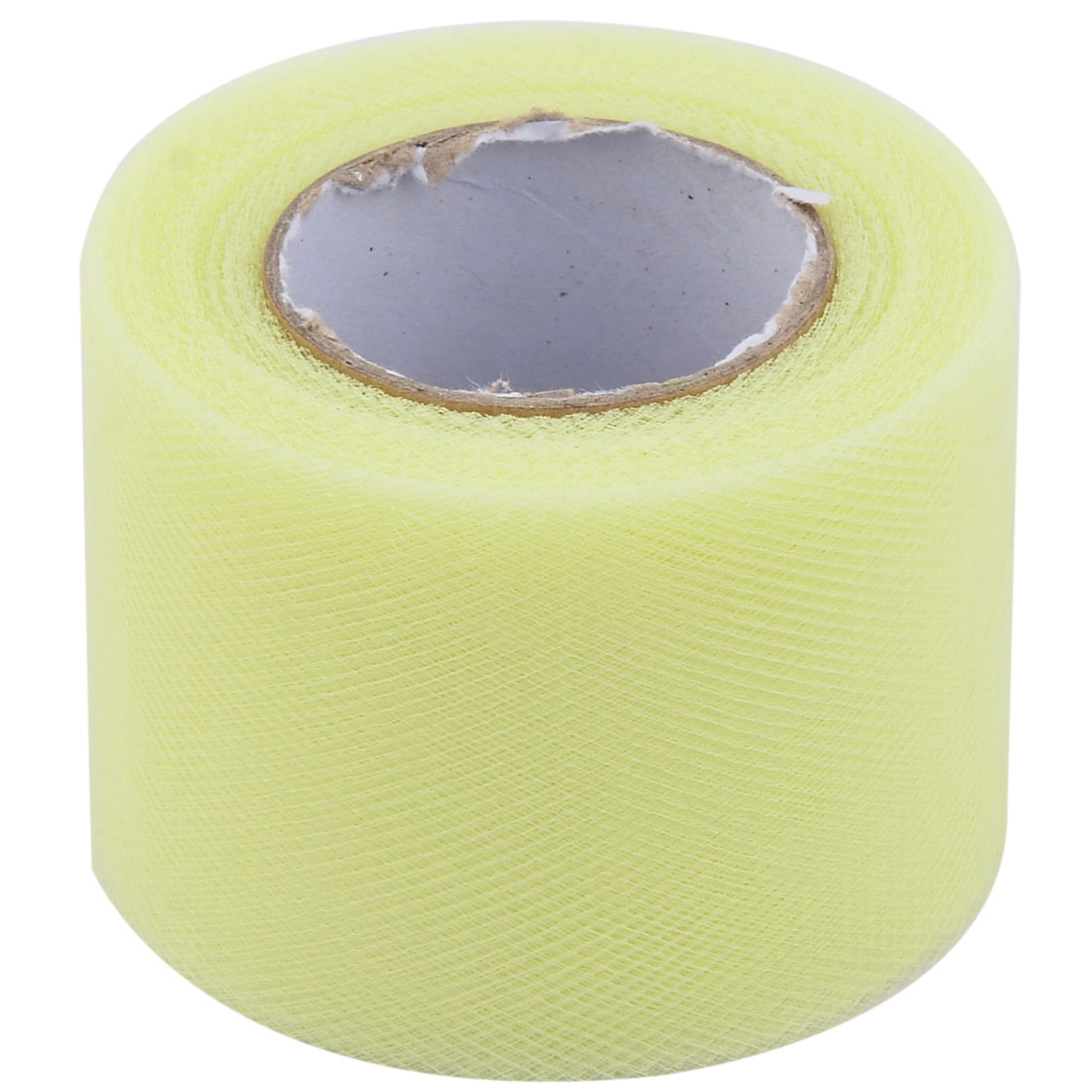 Festival Polyester Tutu Handmade Dress Decor Tulle Spool Roll Light Yellow 2 Inch x 25 Yards