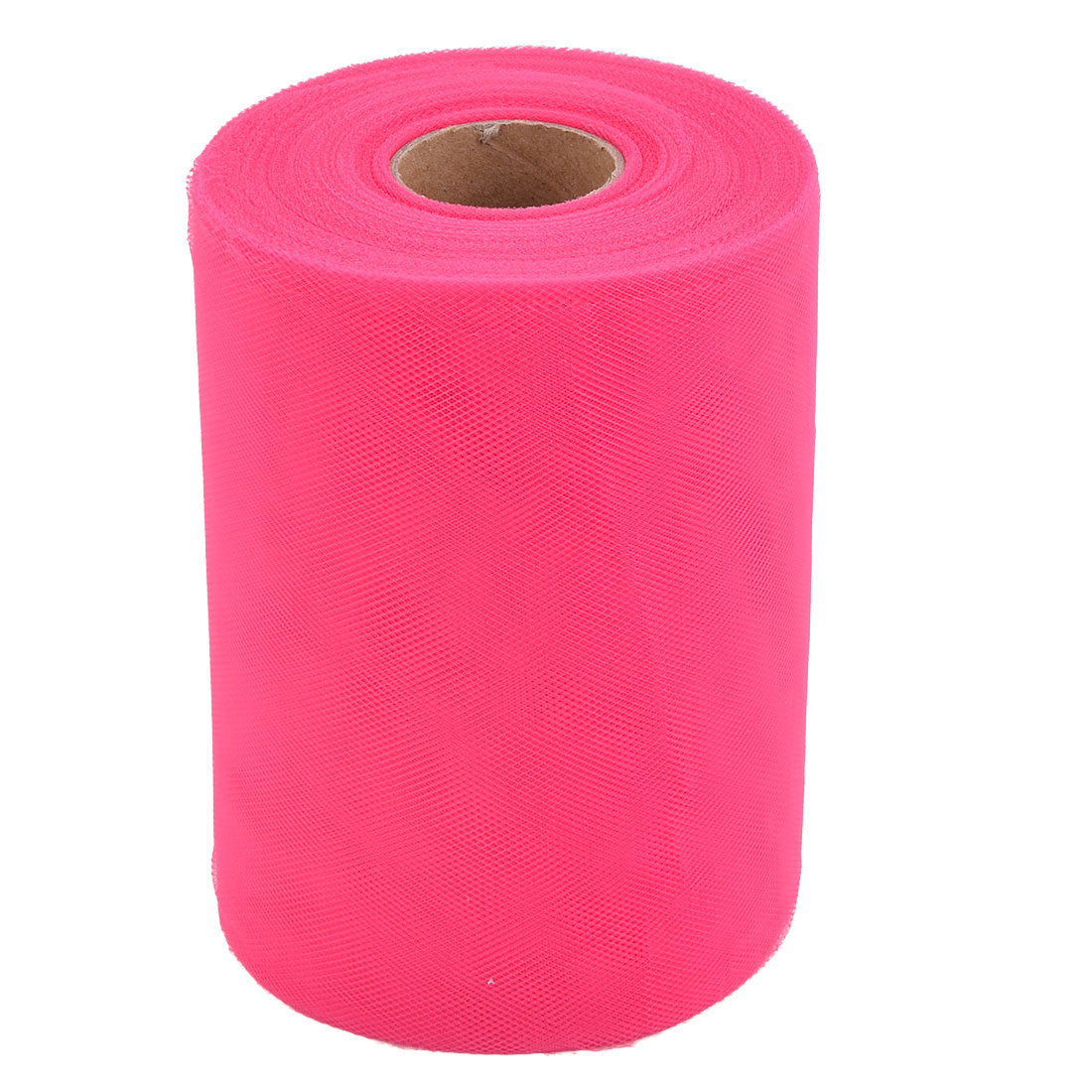Wedding Polyester DIY Table Chair Bow Adornment Tulle Spool Fuchsia 6 Inch x 100 Yards