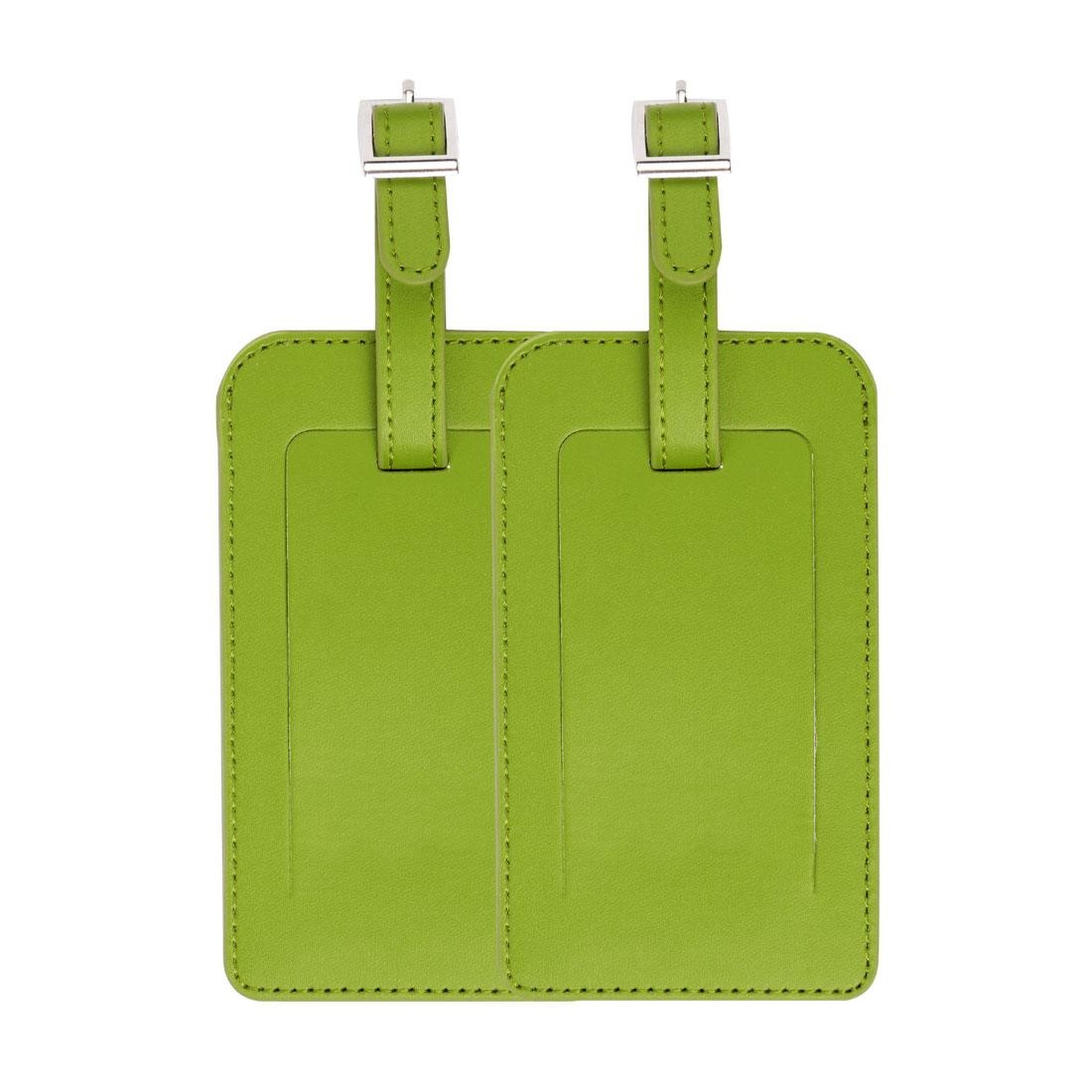 Travel Luggage Tag PU Leather Suitcase Backpack Name Address ID Message Label Lemon Green 2pcs