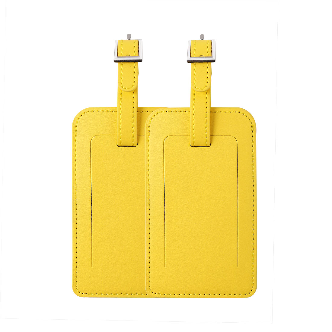 Travel Luggage Tag PU Leather Suitcase Backpack Name Address ID Message Label Yellow 2pcs