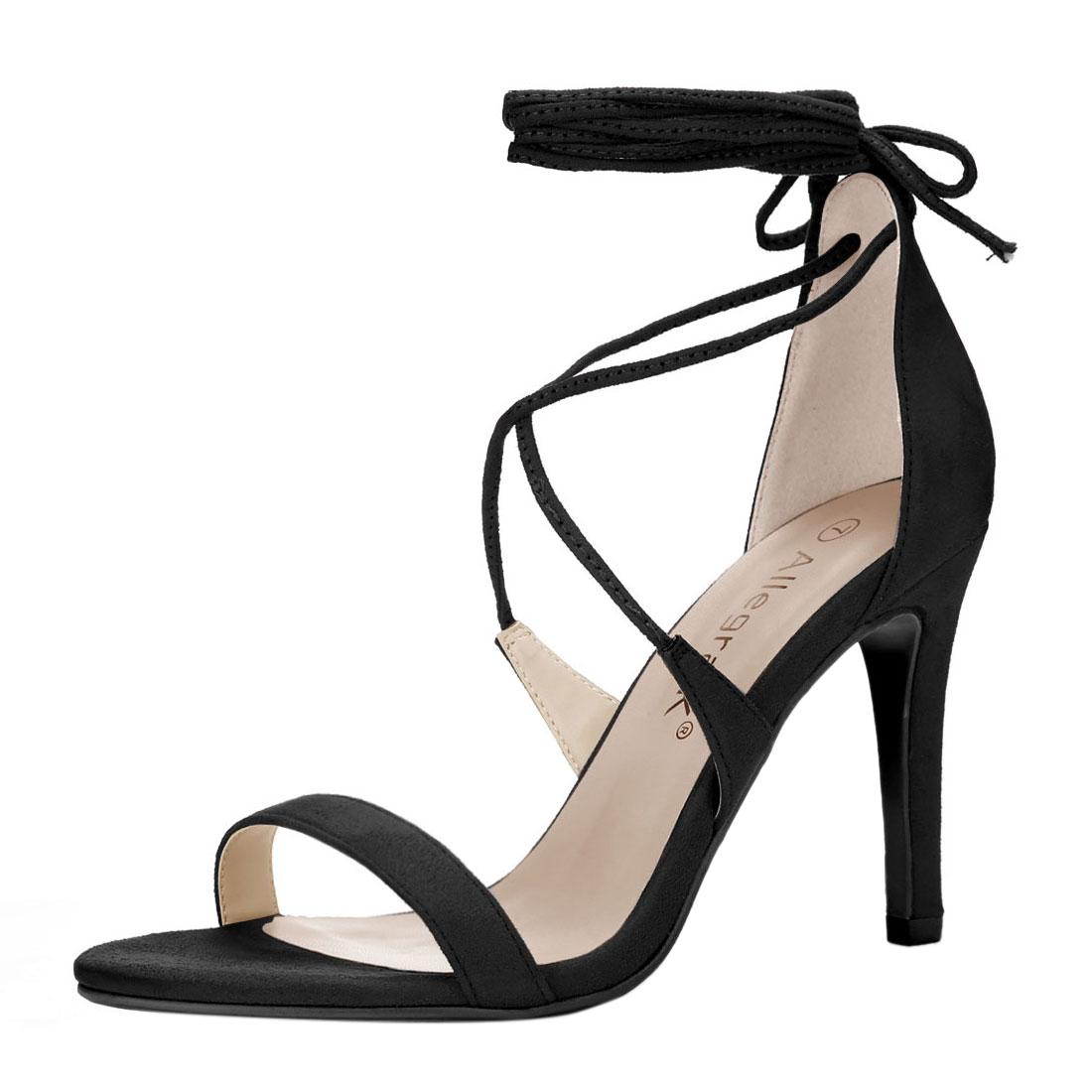 Women Open Toe Stiletto High Heel Lace-Up Sandals Black US 6