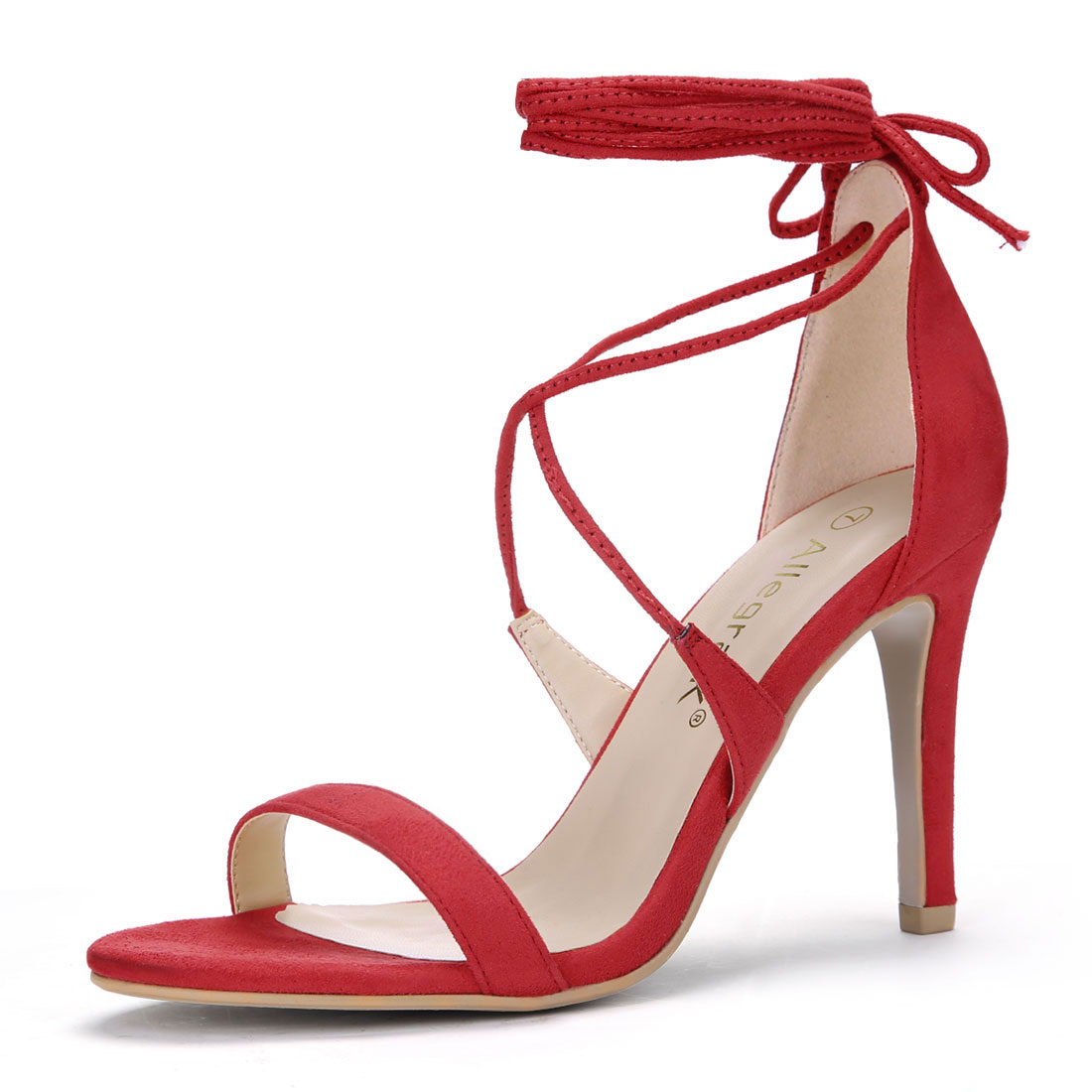 Women Open Toe Stiletto High Heel Lace-Up Sandals Red US 7
