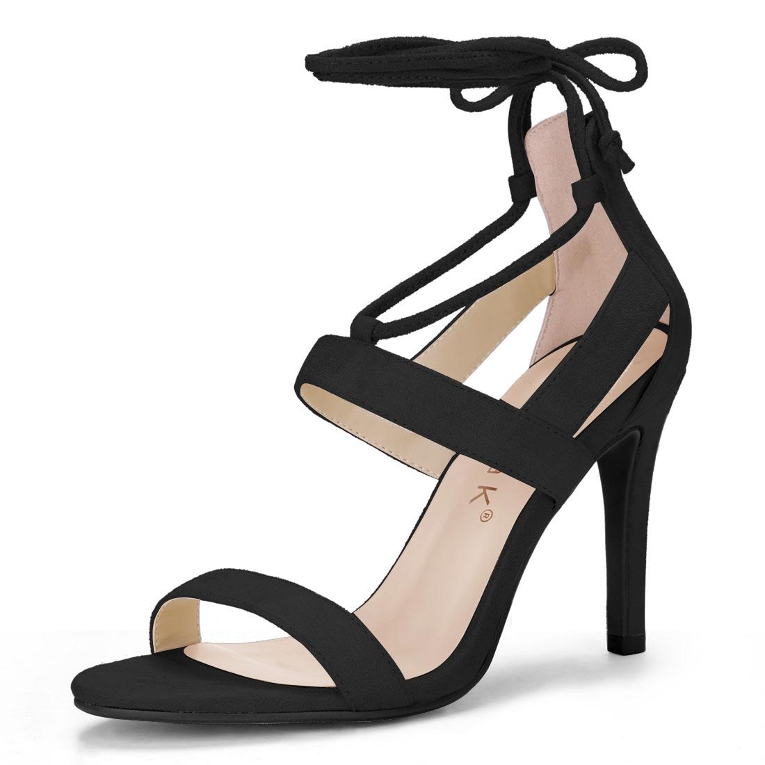 Ladies Open Toe Cutout Stiletto Heel Lace Up Sandals Black US 8