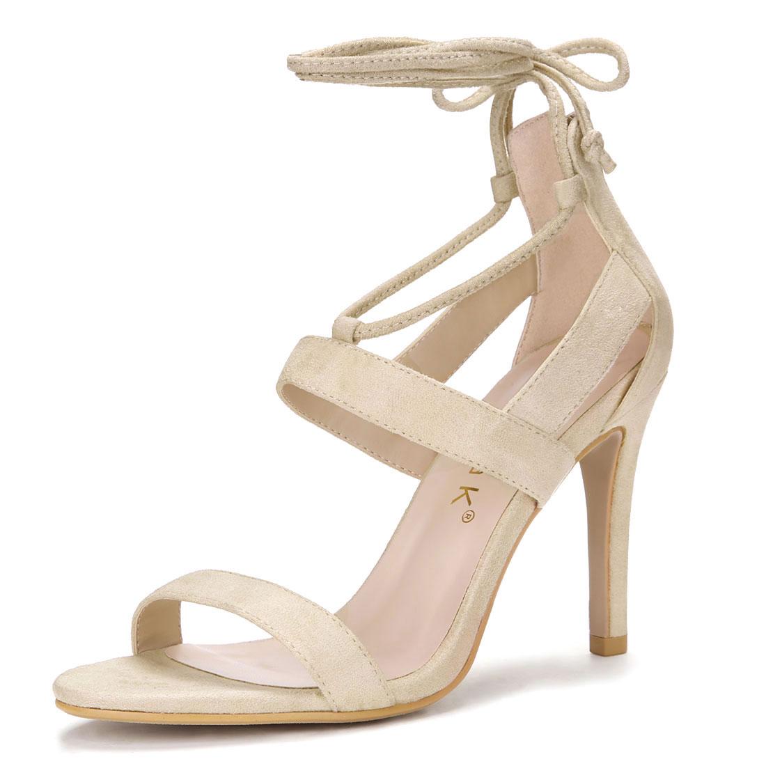 Women Open Toe Cutout Stiletto Heel Lace Up Sandals Beige US 5