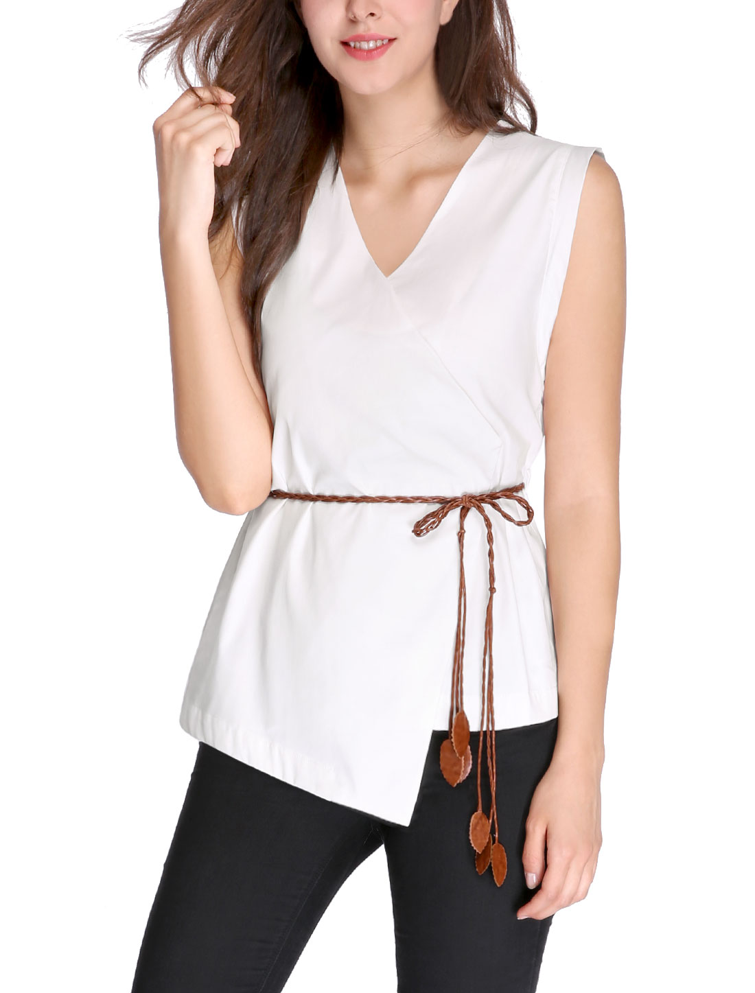 Women V Neck Asymmetric Wrap Front Belted Sleeveless Top White M
