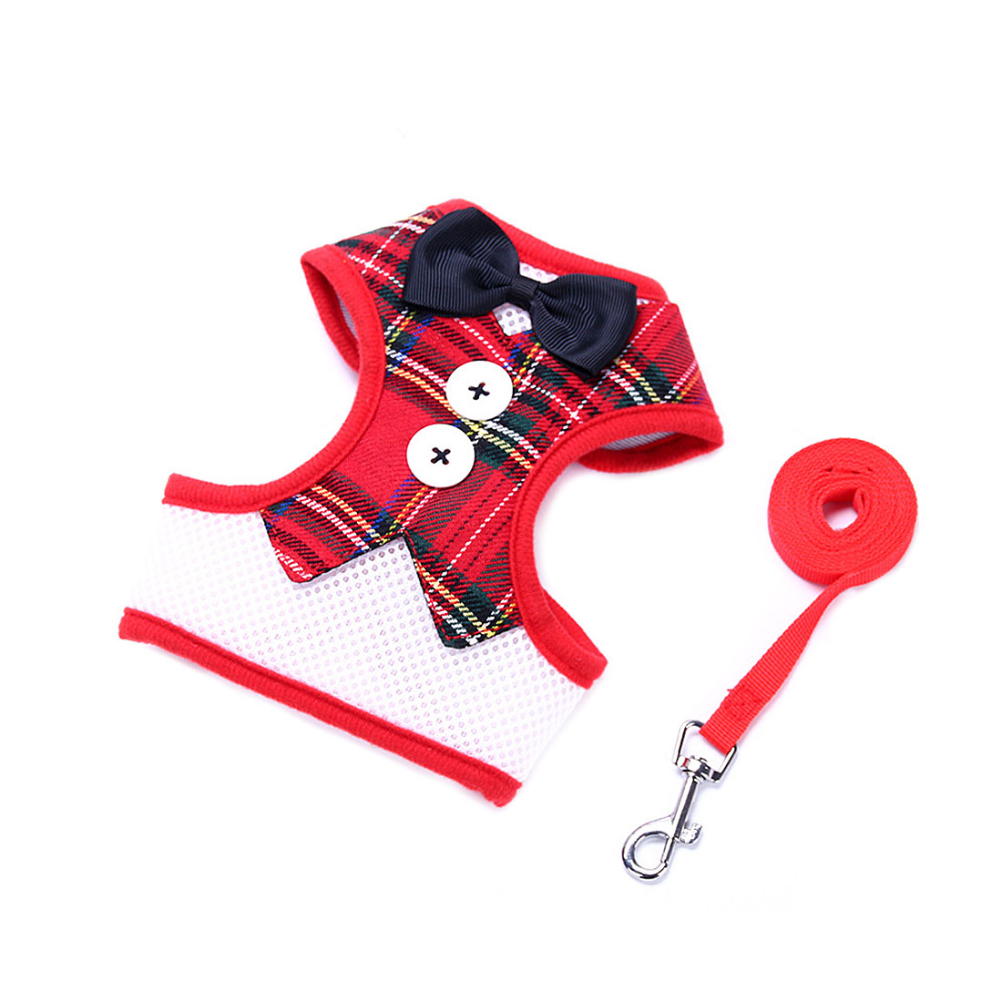 Adjustable Padded Small Dog Harness Breathable Dog Vest Bowtie Gentleman Suit Red Grid M