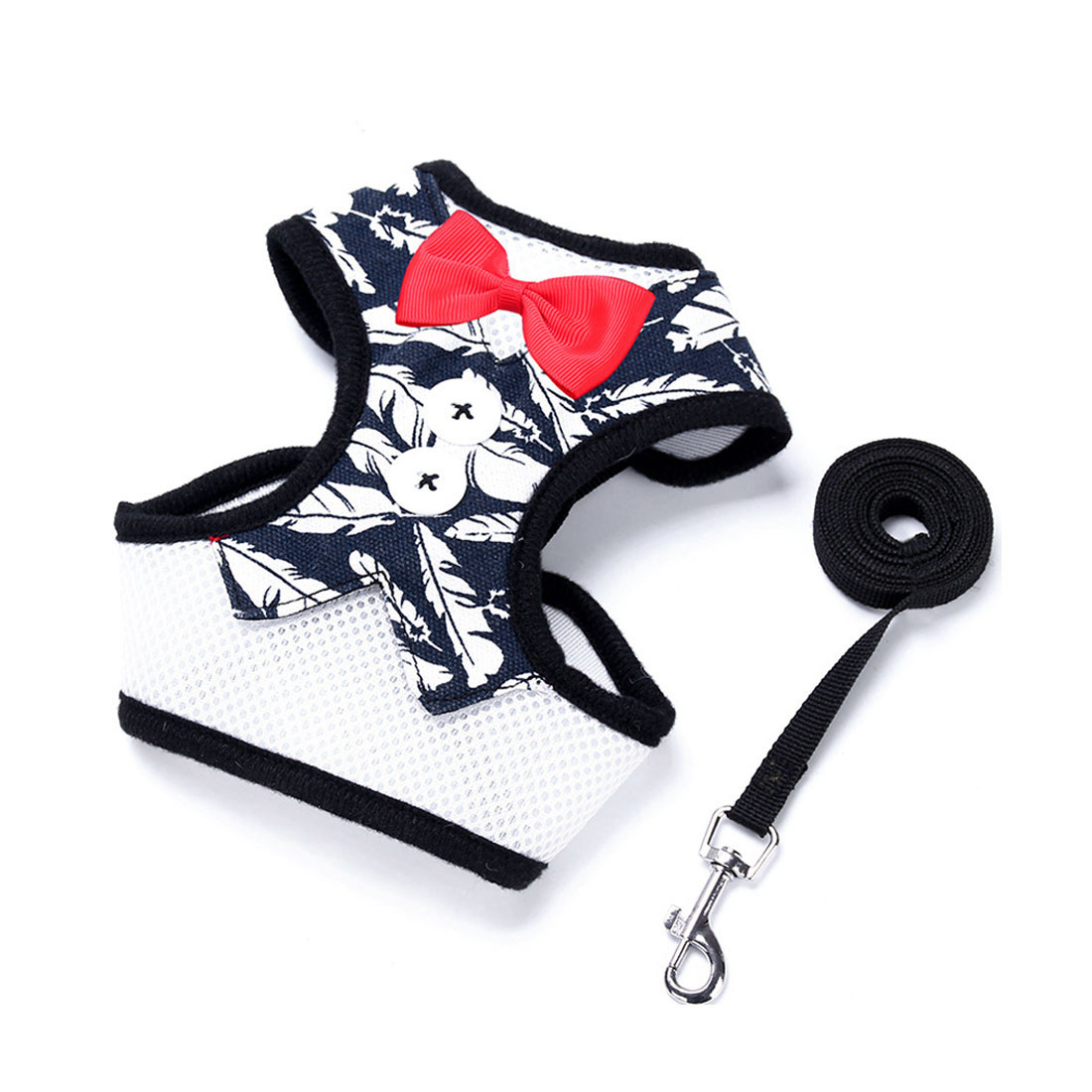 Adjustable Padded Small Dog Harness Breathable Dog Vest Bowtie Gentleman Suit Navy Feather M