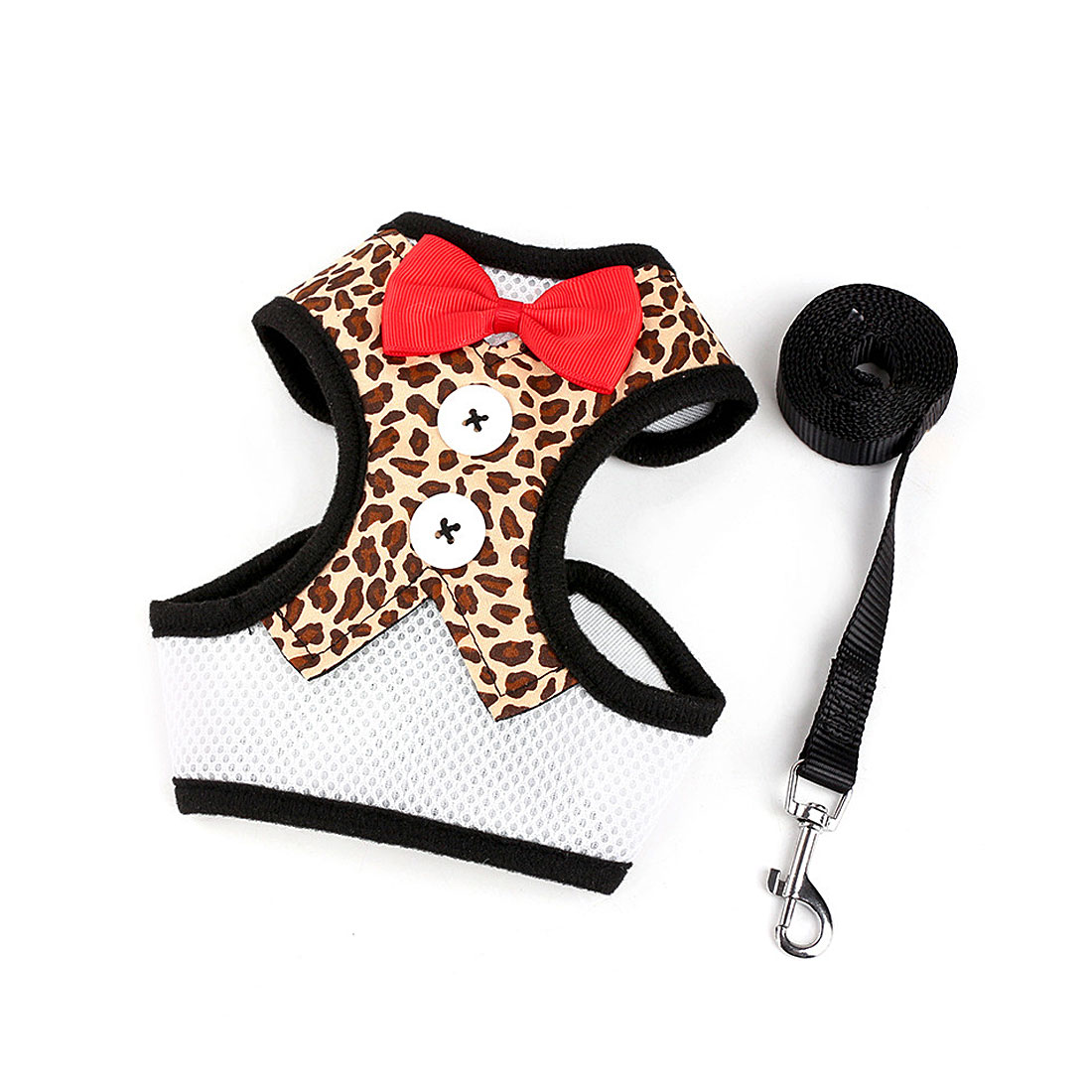 Adjustable Padded Small Dog Harness Breathable Dog Vest Bowtie Gentleman Suit Leopard L