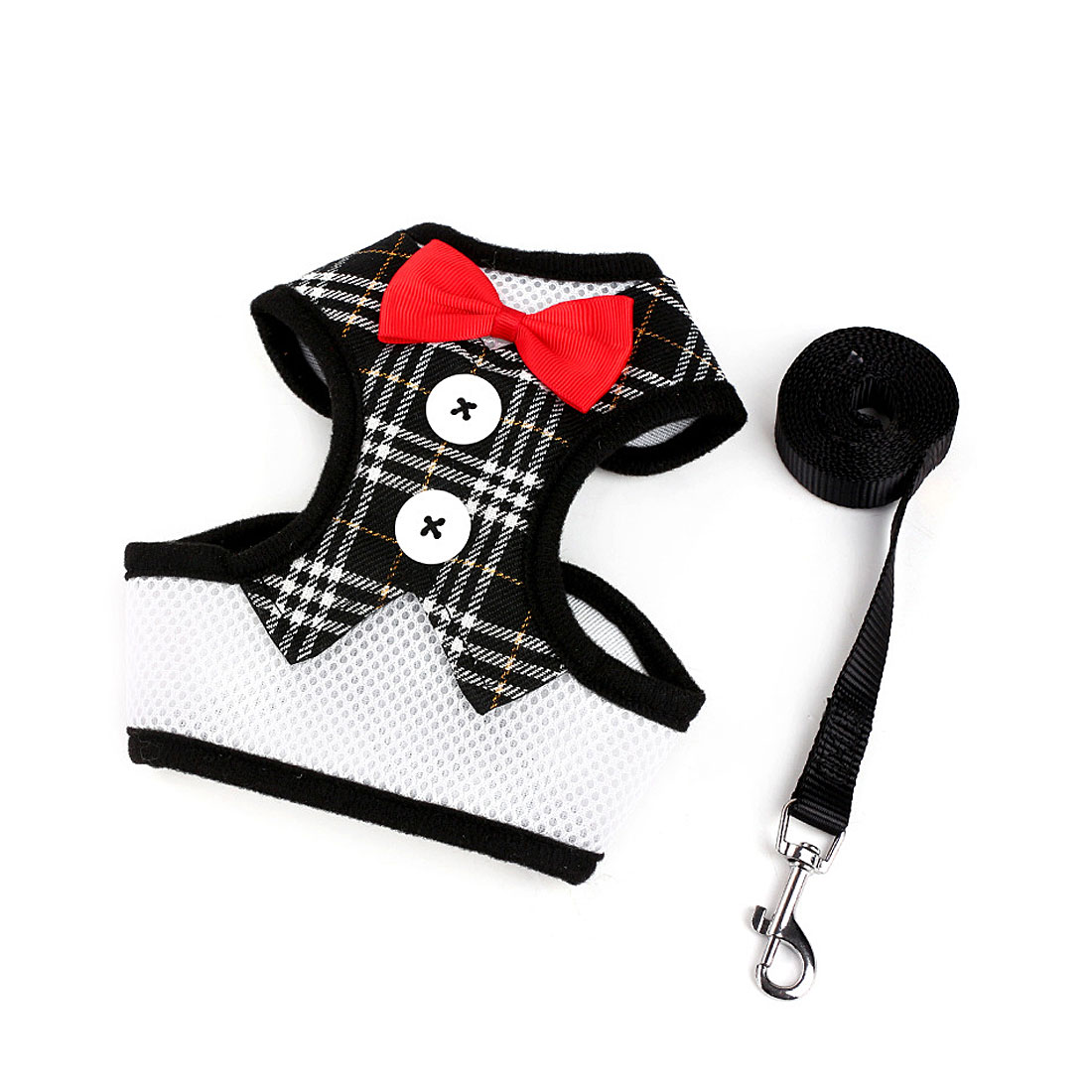 Adjustable Padded Small Dog Harness Breathable Dog Vest Bowtie Gentleman Suit Black Grid S