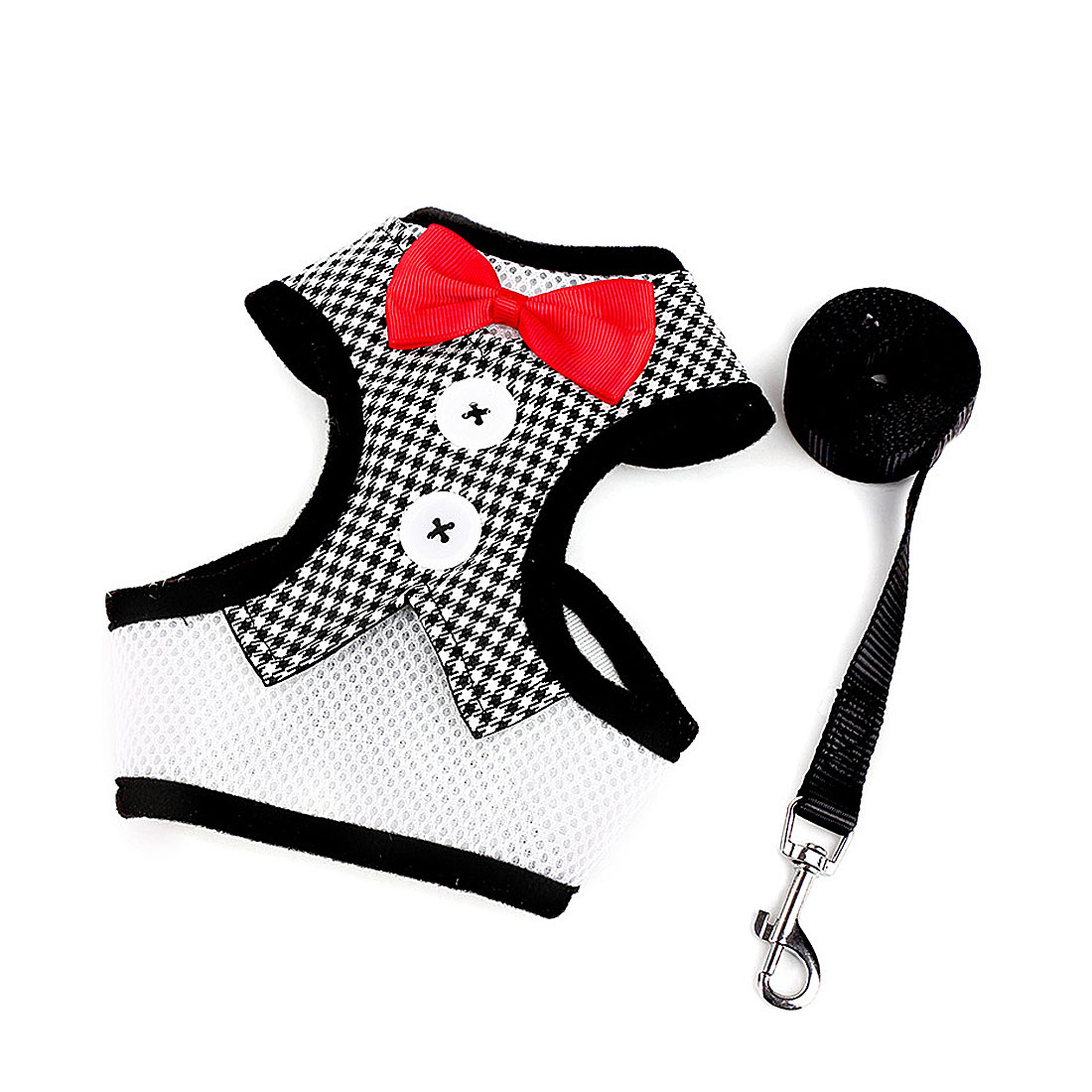 Fashion Adjust Puppy Dogs Harness Breathable Dog Vest Bowtie Suit+Leash 120CM