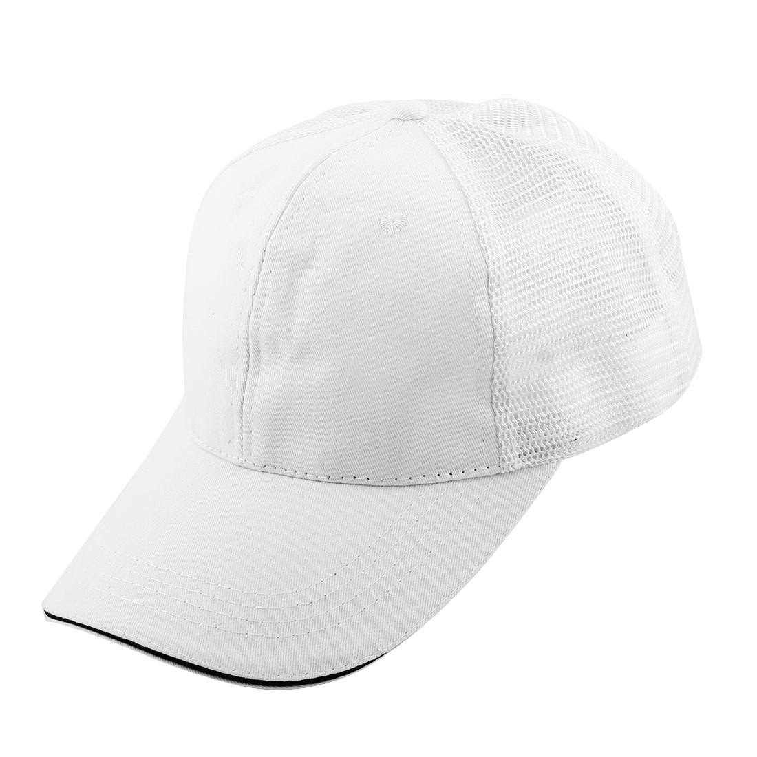 Unisex Cotton Blends Meshy Design 6 Panel Adjustable Golf Baseball Cap Outdoor Sports Hat White