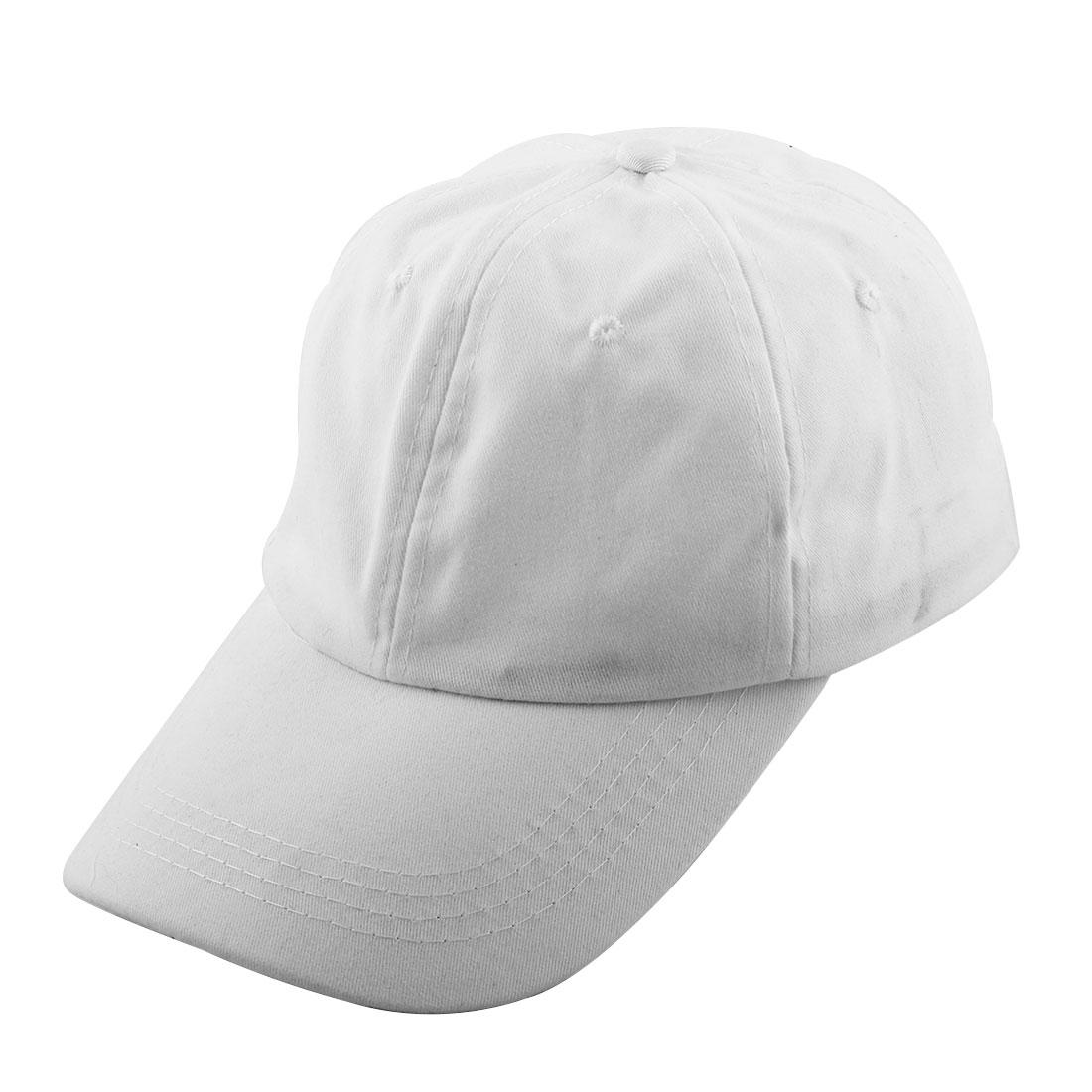 Outdoor Sports Cotton Blends 6 Panel Adjustable Loop Baseball Cap Portable Golf Hat White
