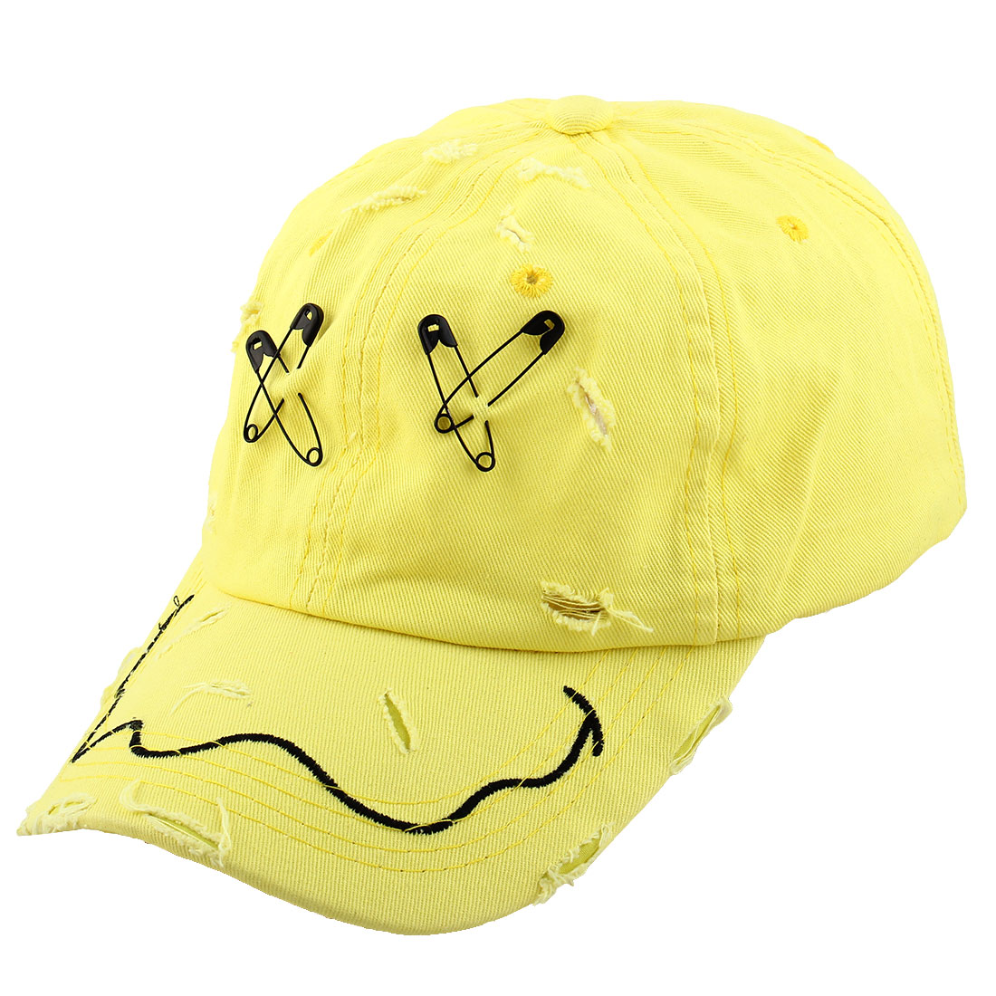 Unisex Metal X Letter Decor Outdoor Sports Golf Adjustable Baseball Peaked Hat Cap Yellow