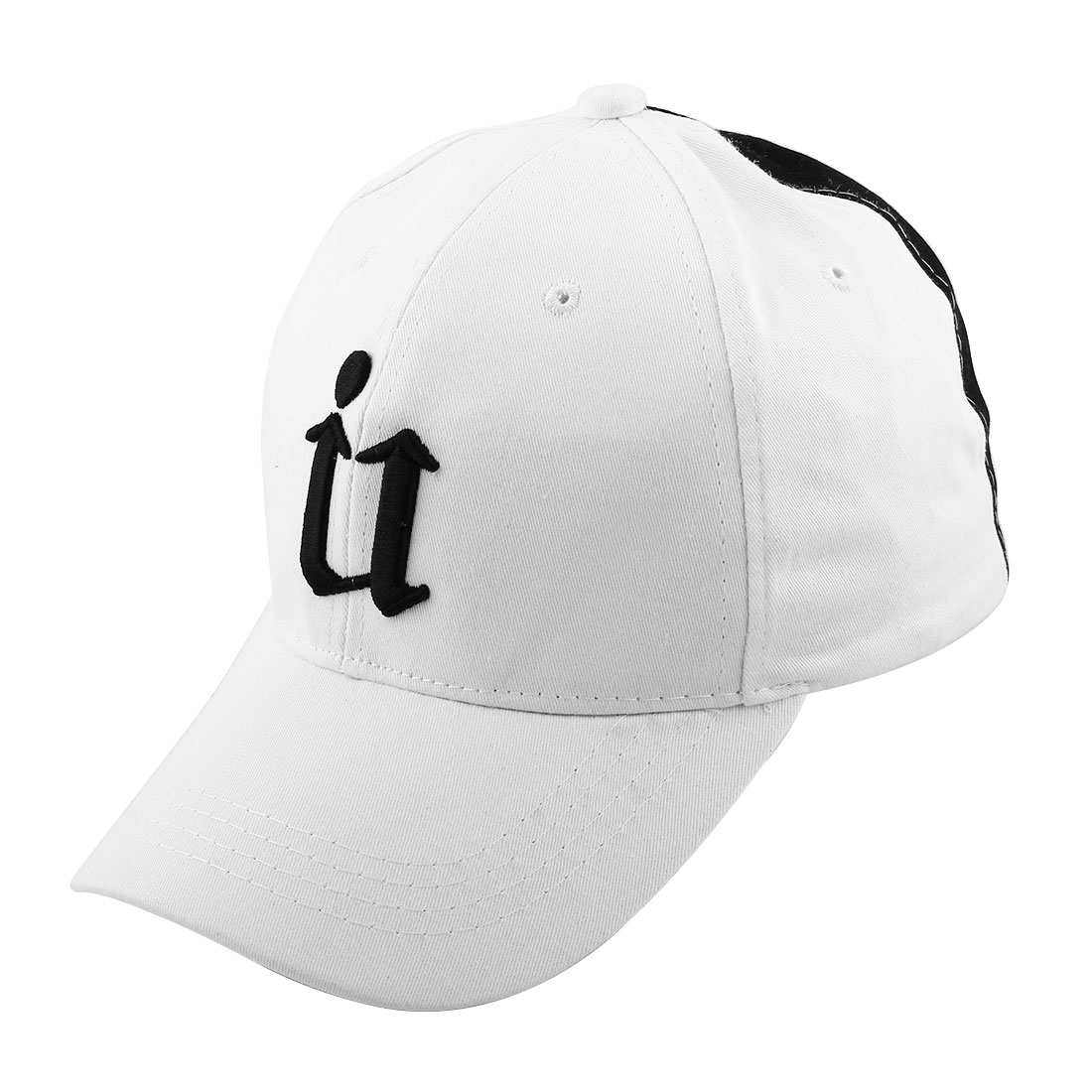 Spring Summer Cotton Blends Letter Pattern 5 Panel Adjustable Loop Baseball Cap Portable Golf Hat White