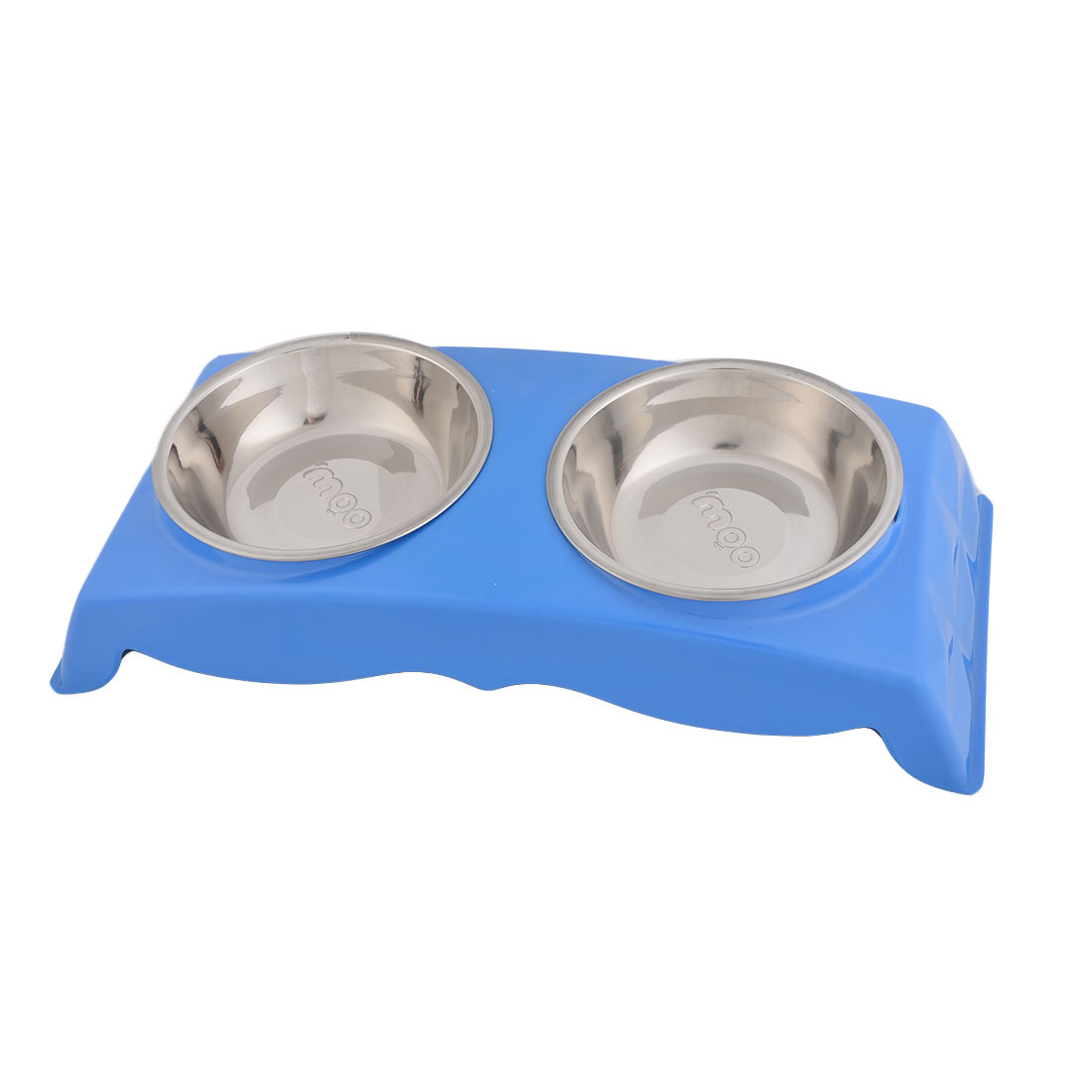 Home Metal Double Bowl Design Puppy Dog Pet Dinner Food Water Feeder Basin Blue
