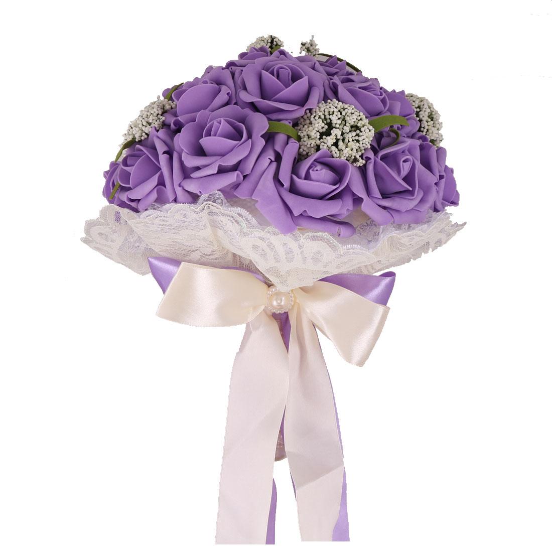 Wedding Bridesmaid Foam Bowknot Decoration Flower Handhold Bouquet Purple 9 Inch Dia